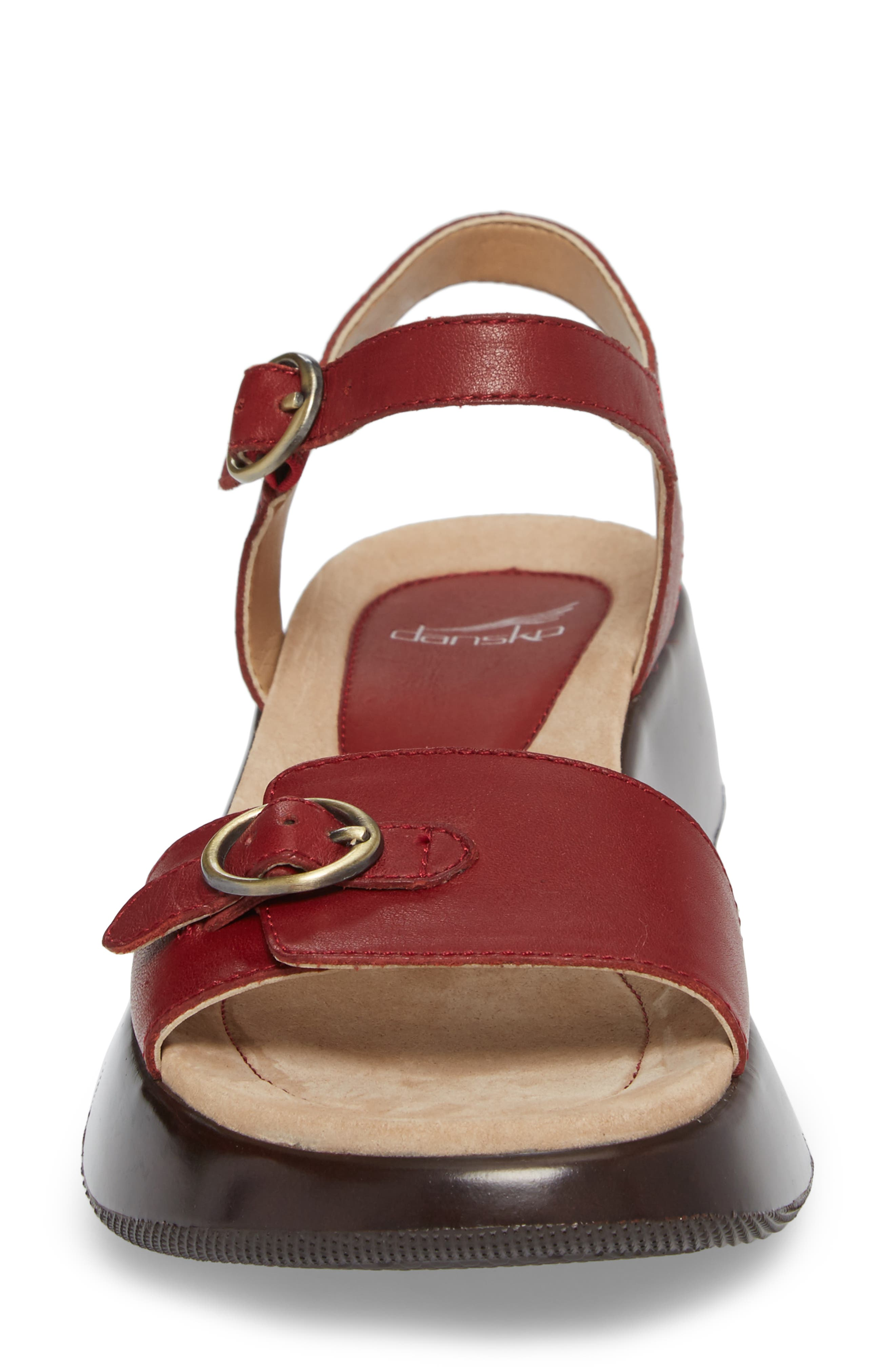 Lynnie Sandal,                             Alternate thumbnail 4, color,                             Red Leather
