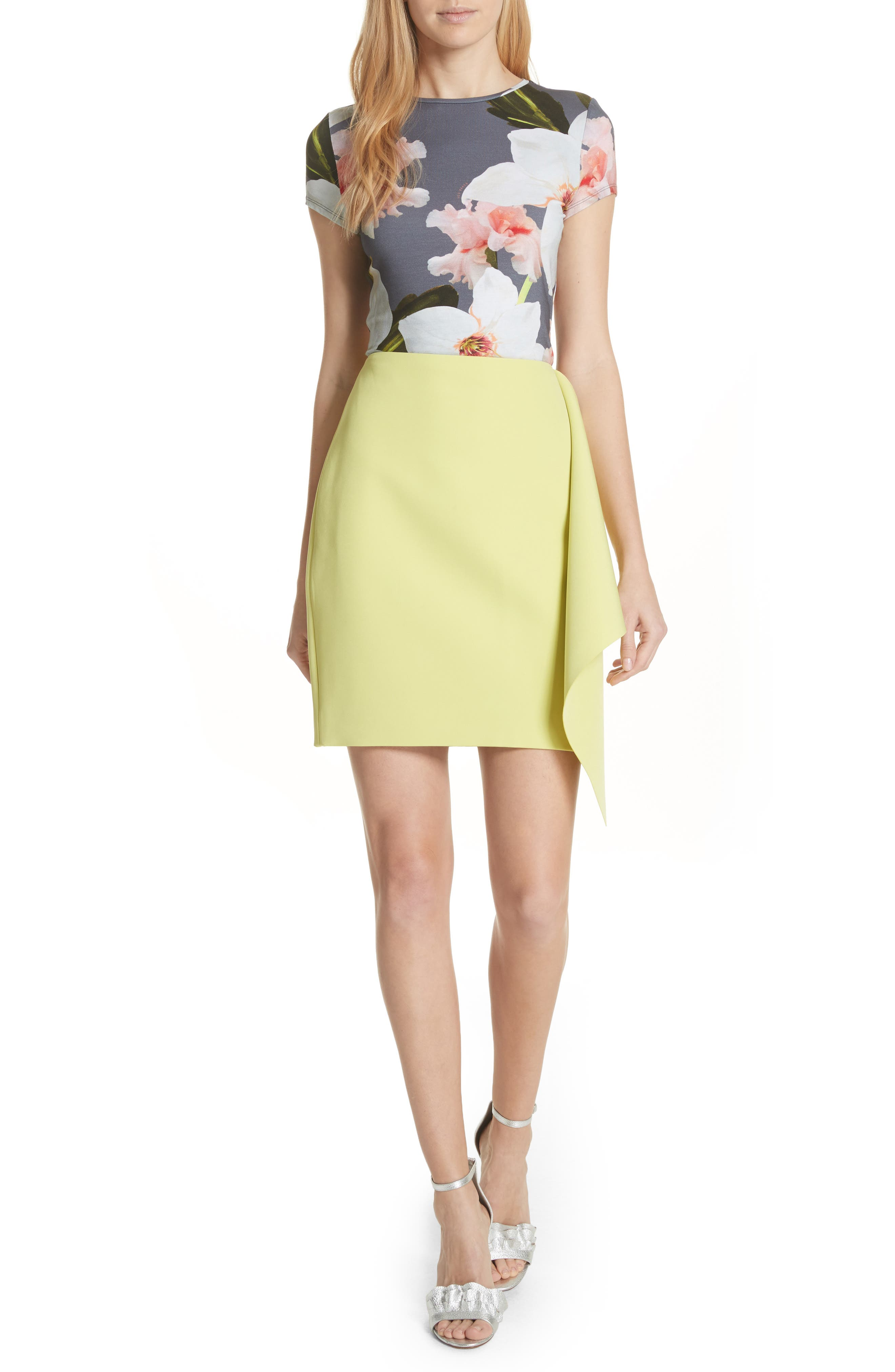 Asymmetrical Frill Pencil Skirt,                             Alternate thumbnail 2, color,                             Lime