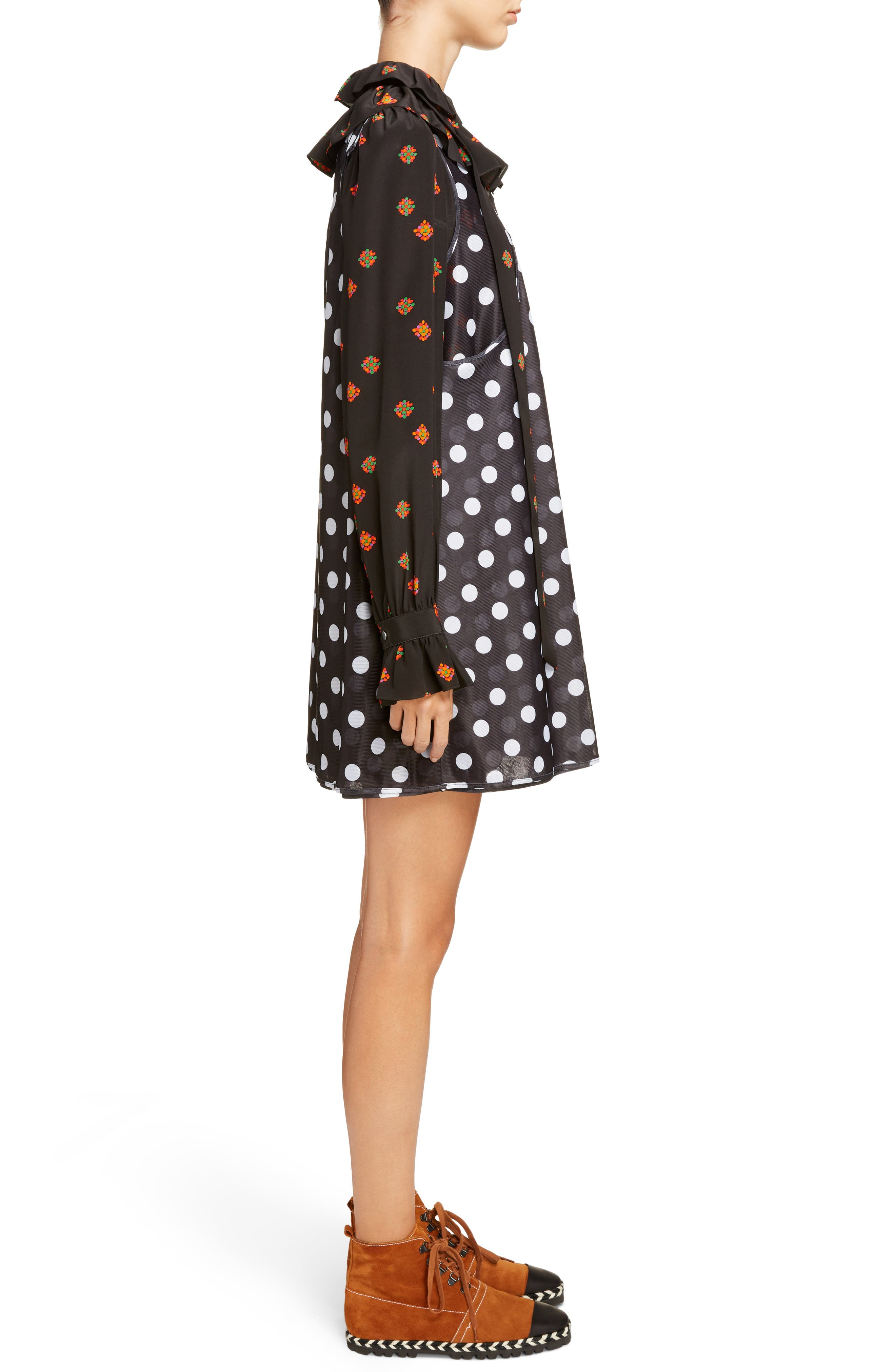 Polka Dot Minidress with Ditsy Floral Blouse,                             Alternate thumbnail 3, color,                             Black