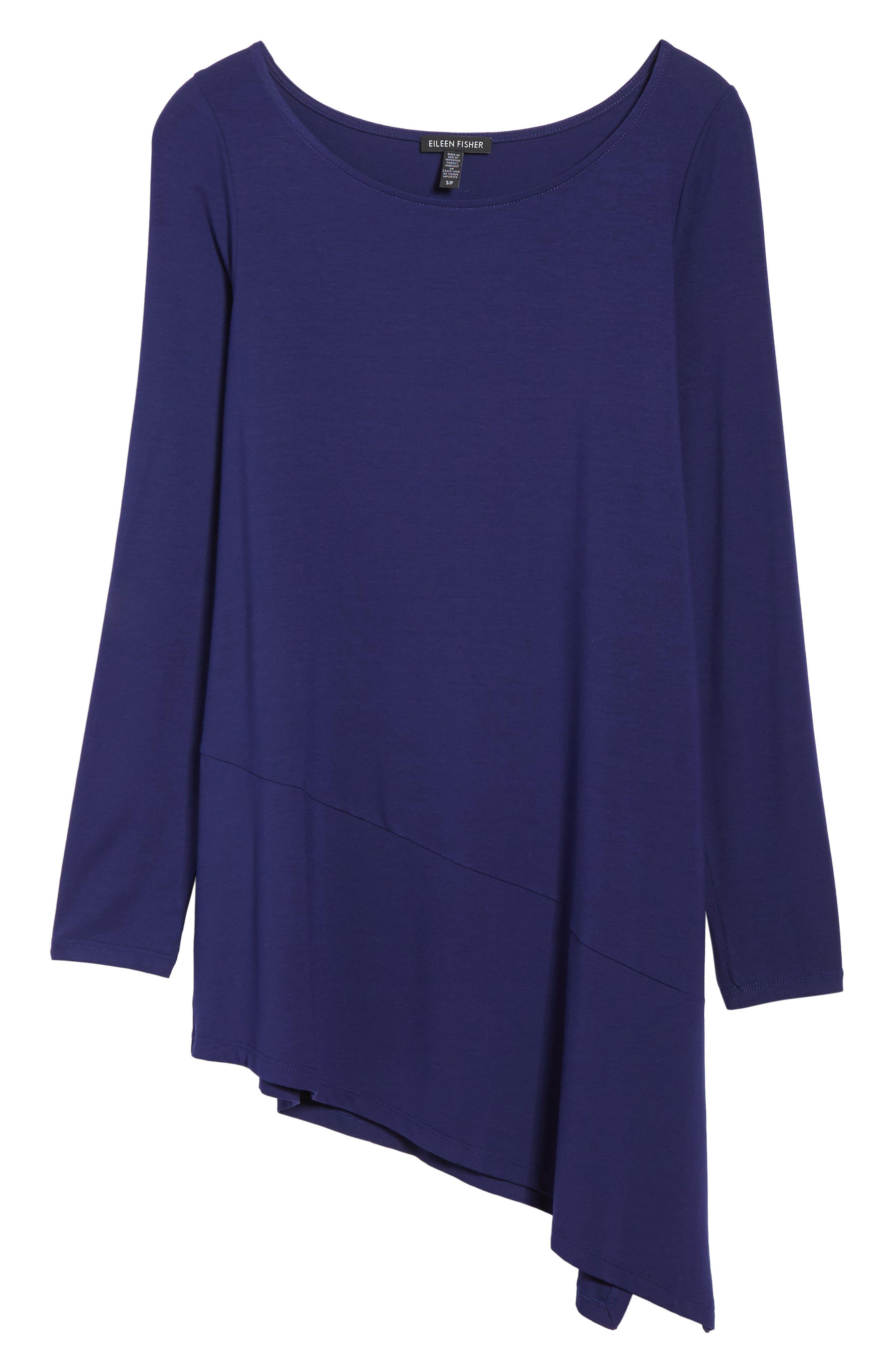 Main Image - Eileen Fisher Bateau Neck Asymmetrical Jersey Tunic (Regular & Petite) (Online Only)