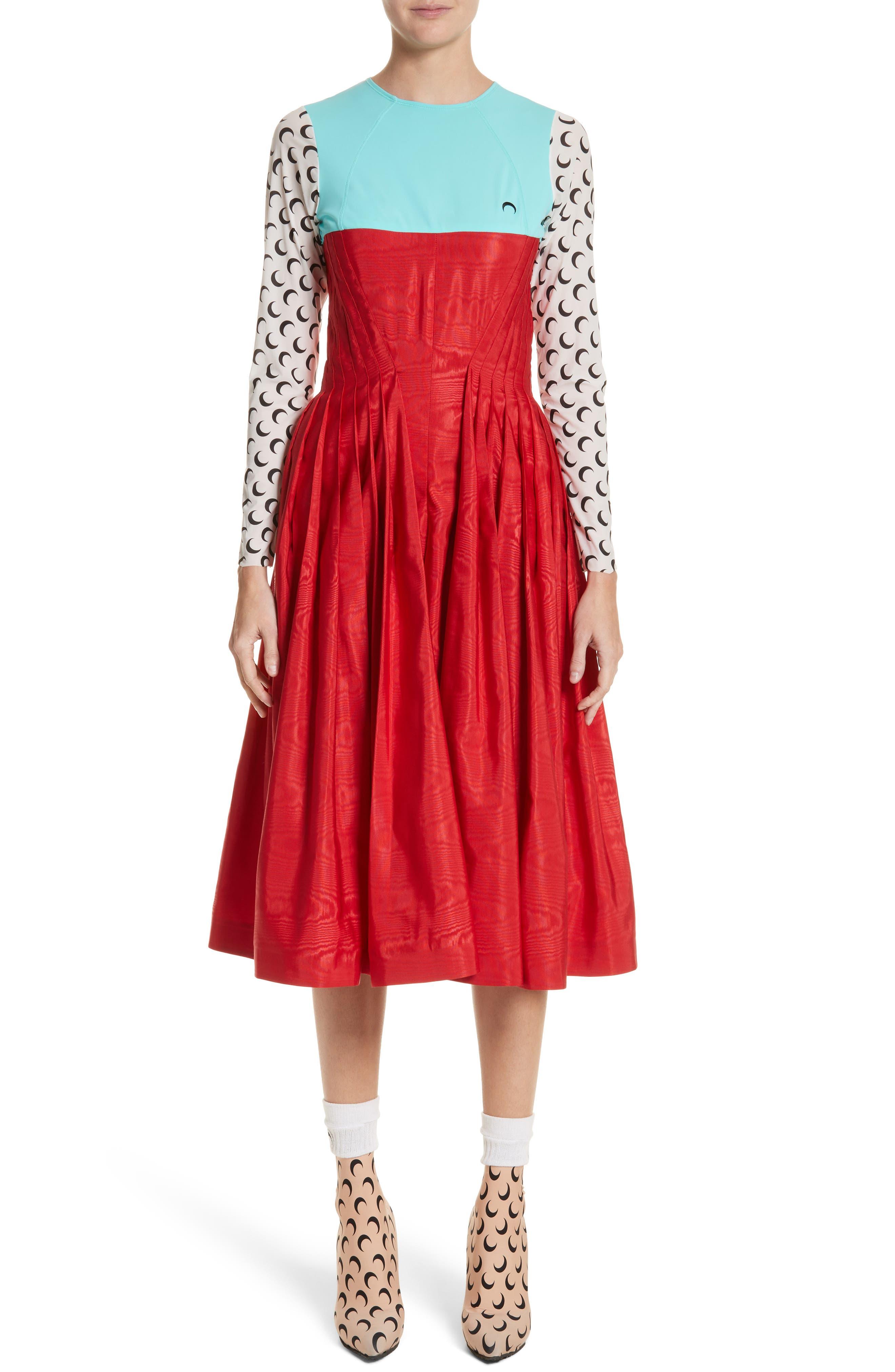 Hybrid Moiré Dress,                             Main thumbnail 1, color,                             Turquoise/ Red