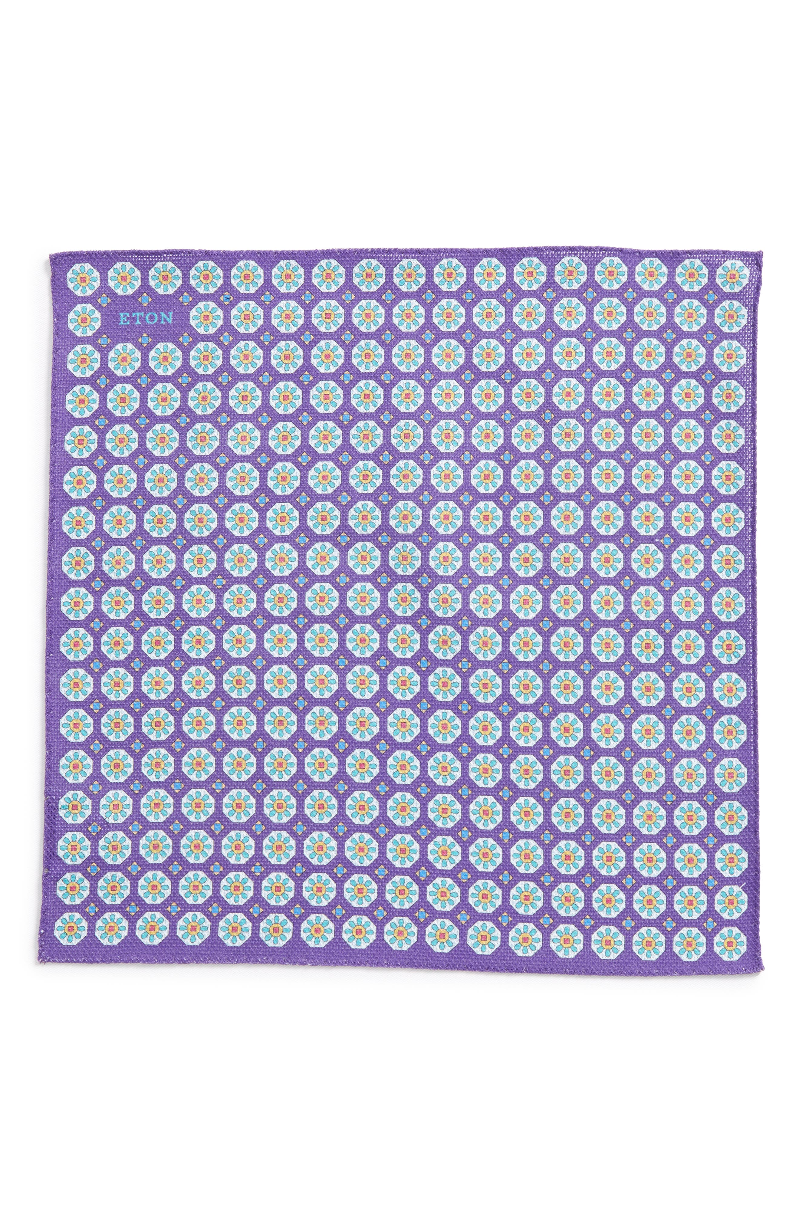 Medallion Cotton Pocket Square,                             Alternate thumbnail 2, color,                             Purple