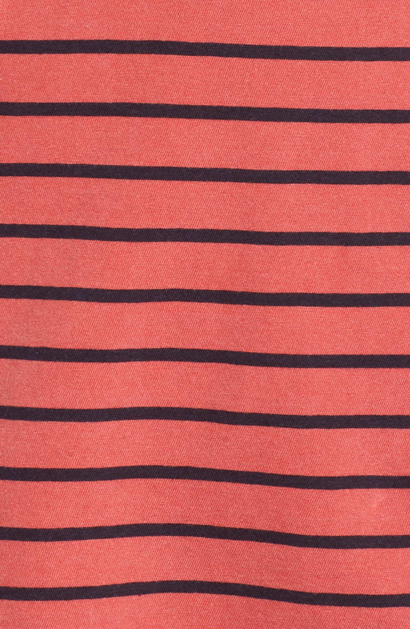 Stripe Button Tee,                             Alternate thumbnail 5, color,                             Chili
