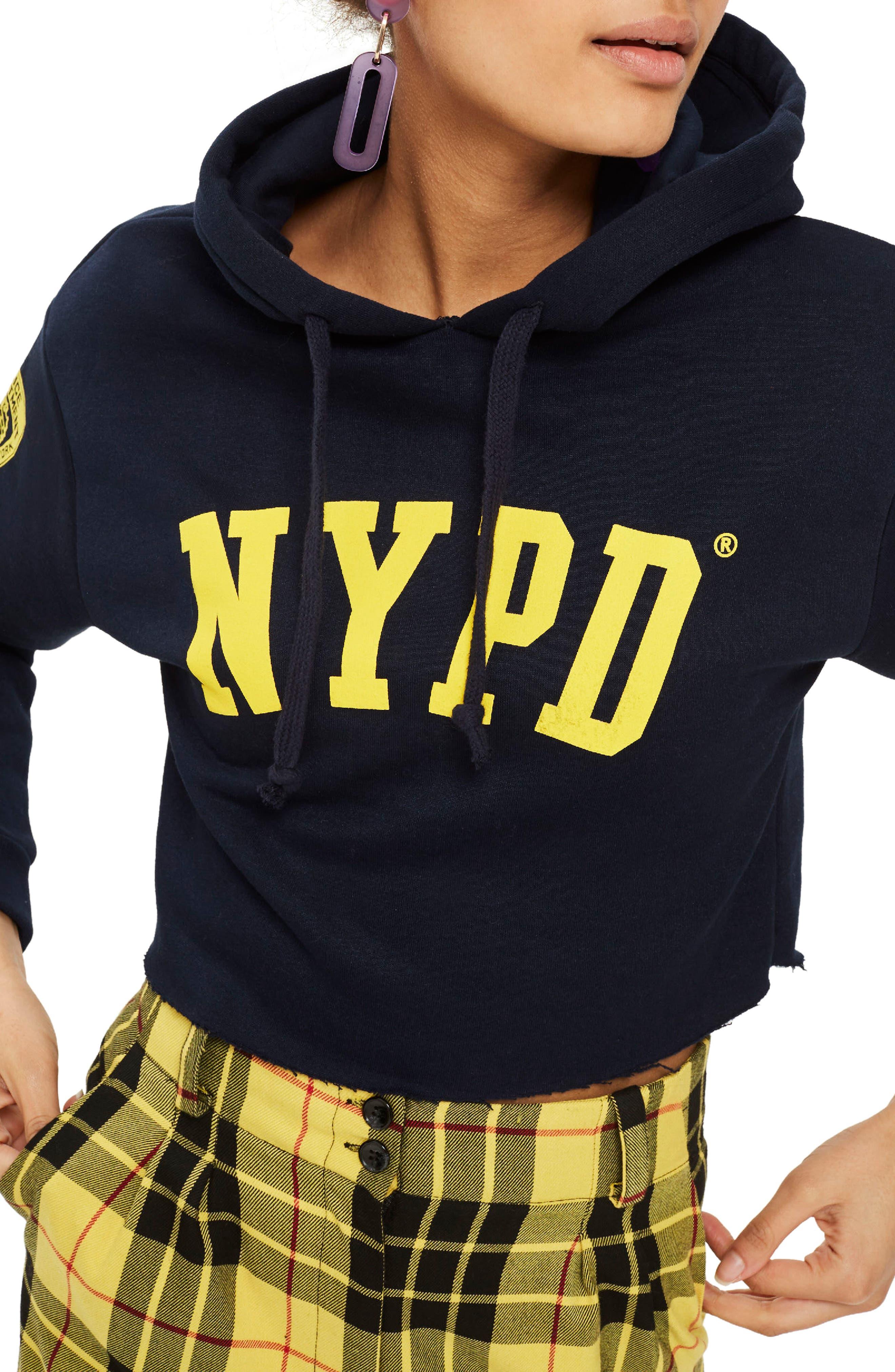 by Tee & Cake NYPD Crop Hoodie,                         Main,                         color, Navy Blue Multi