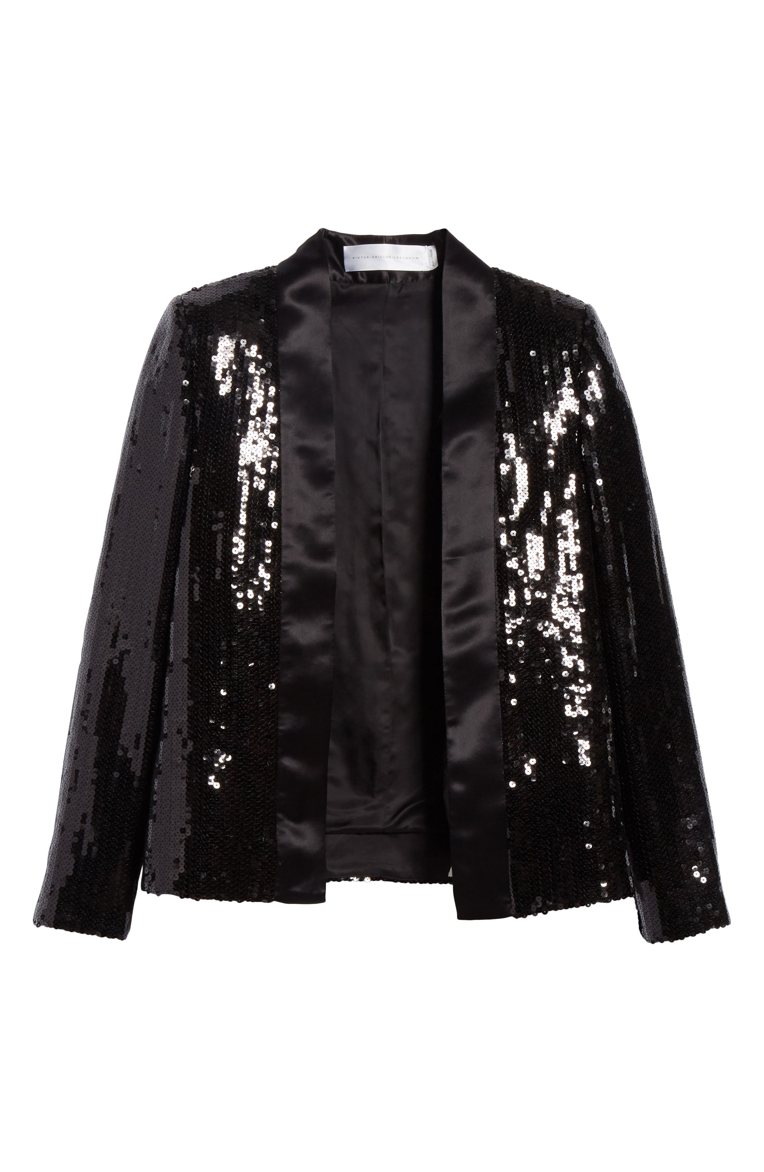 Sequin Tuxedo Jacket,                             Alternate thumbnail 6, color,                             Black