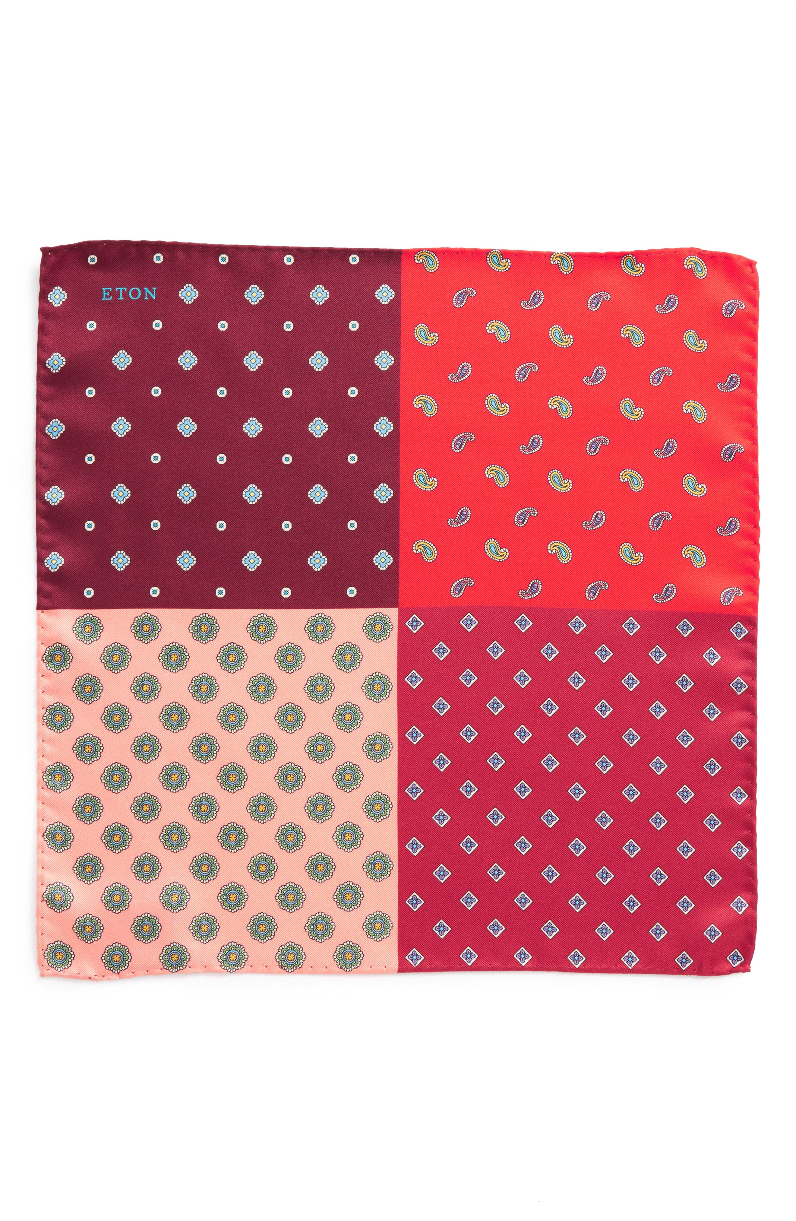 Four Panel Silk Pocket Square,                             Alternate thumbnail 2, color,                             Red