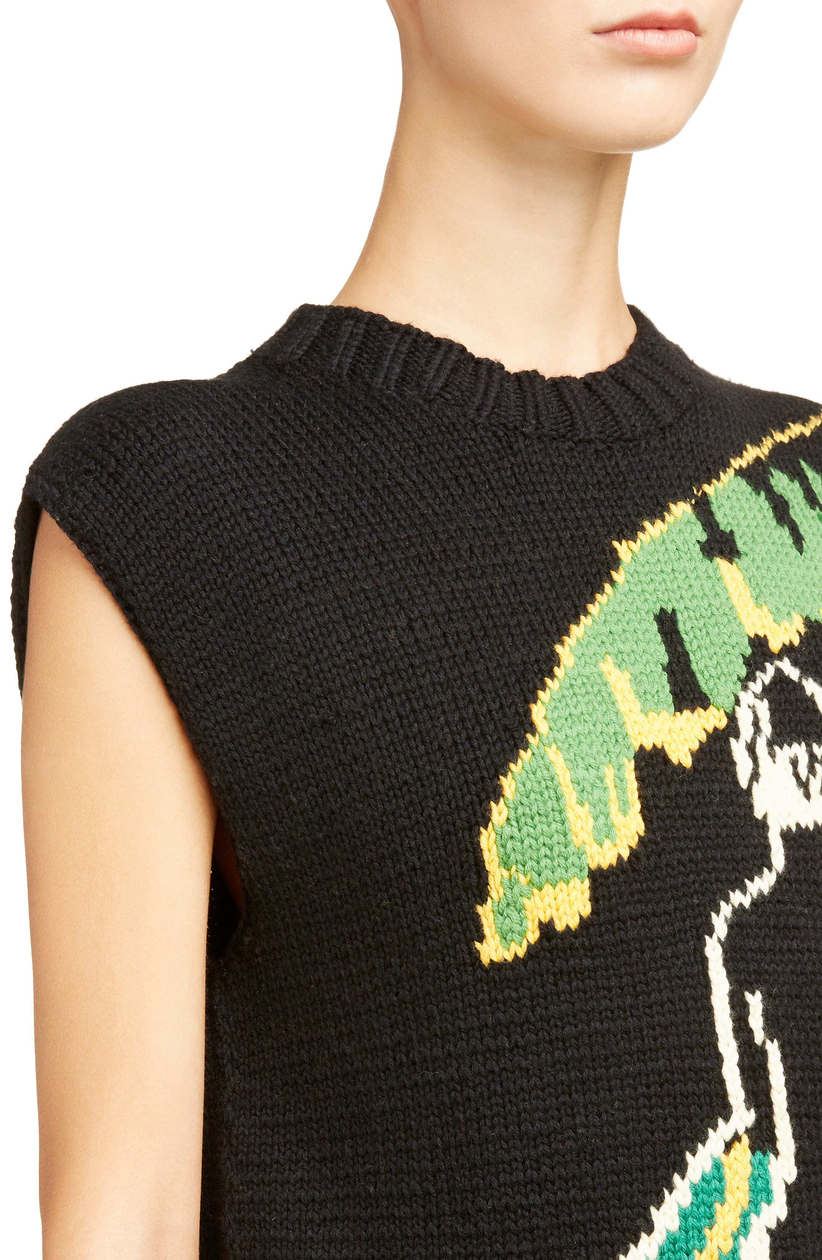 Palm Lady Sweater Tank,                             Alternate thumbnail 4, color,                             Black
