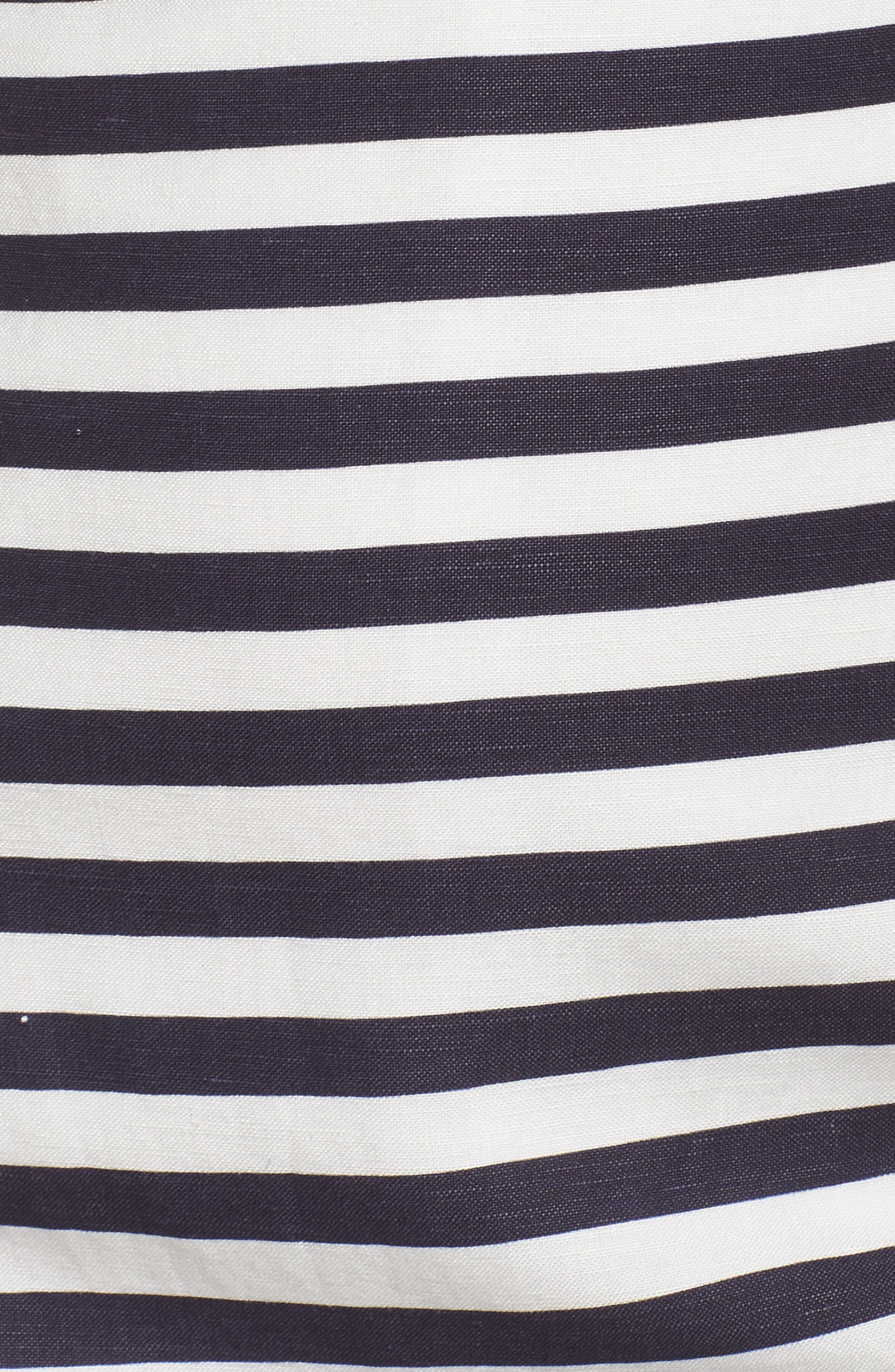 Stripe A-Line Dress,                             Alternate thumbnail 5, color,                             Navy/ White