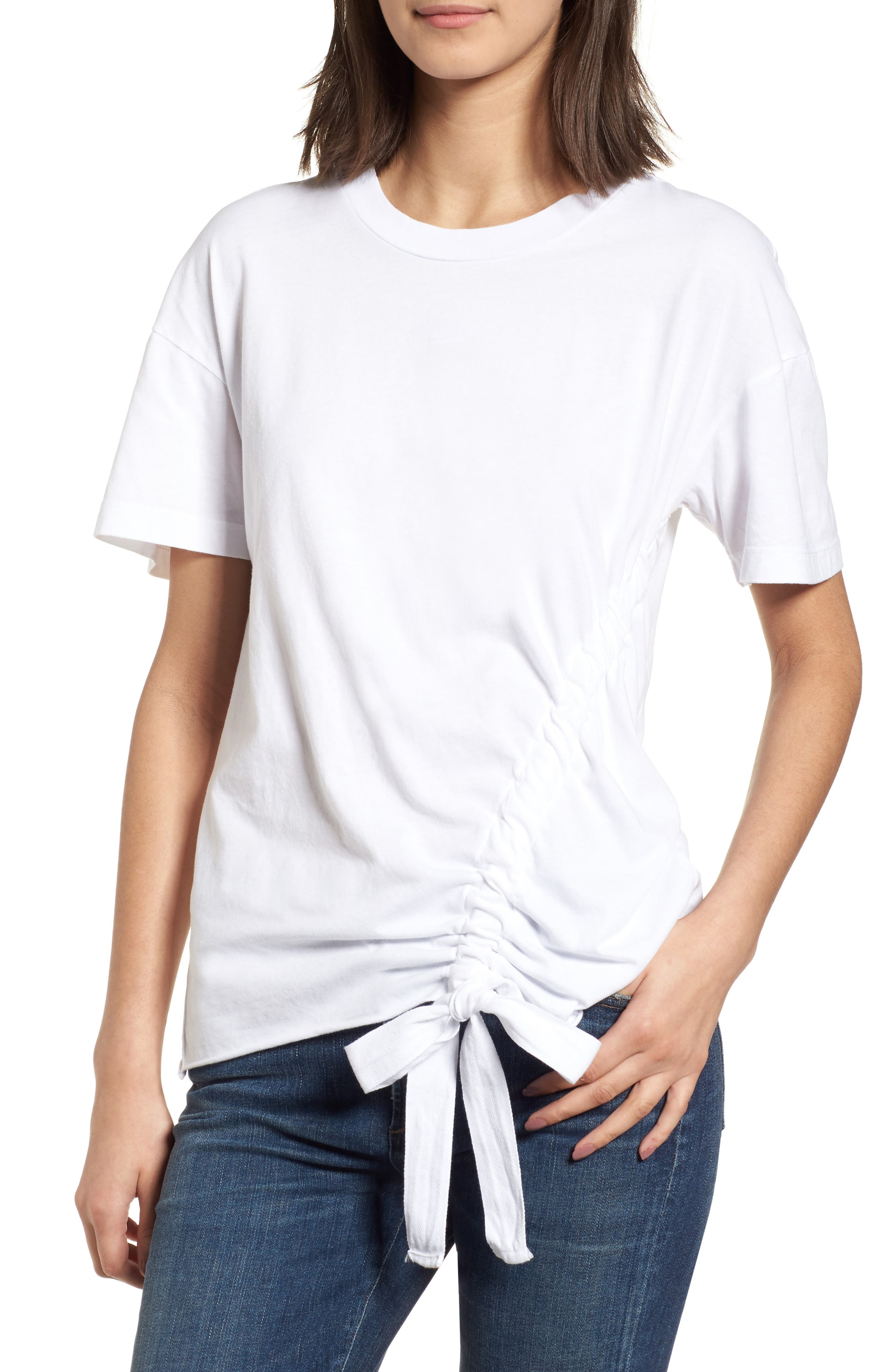 Ruched Brushed Cotton Tee,                         Main,                         color, White