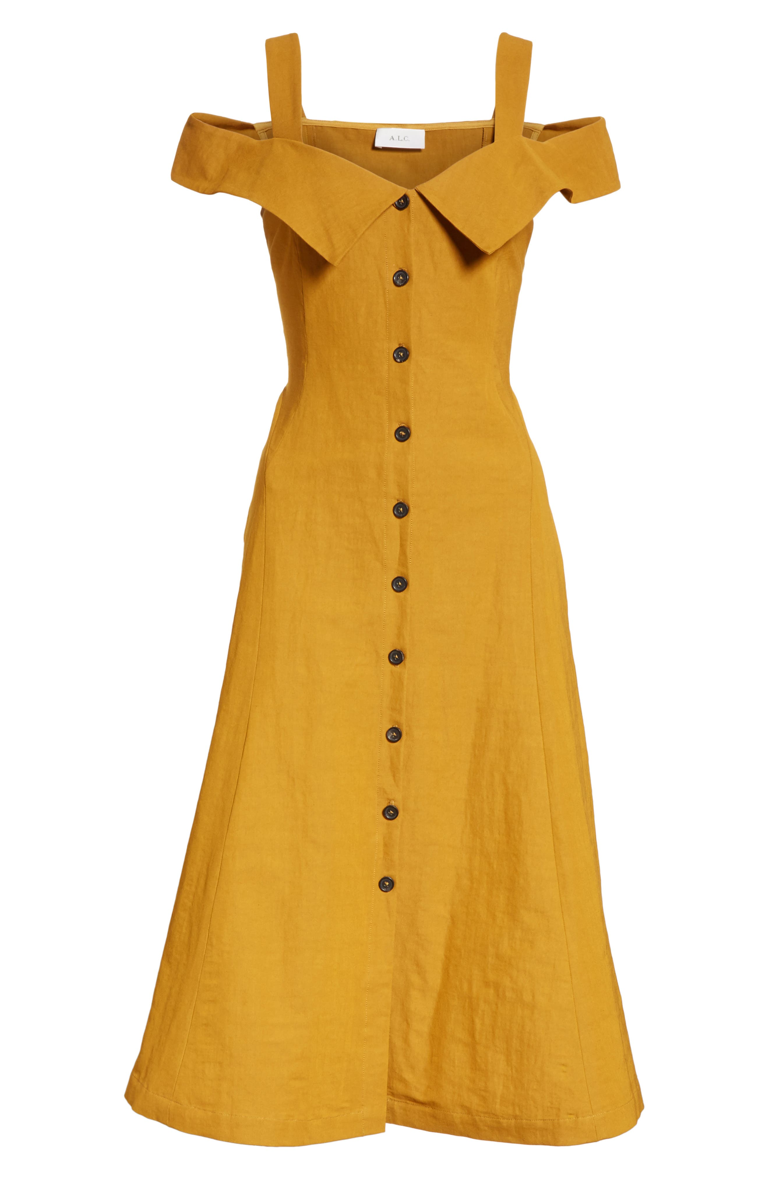 Hudson Cold Shoulder Dress,                             Alternate thumbnail 7, color,                             Gold