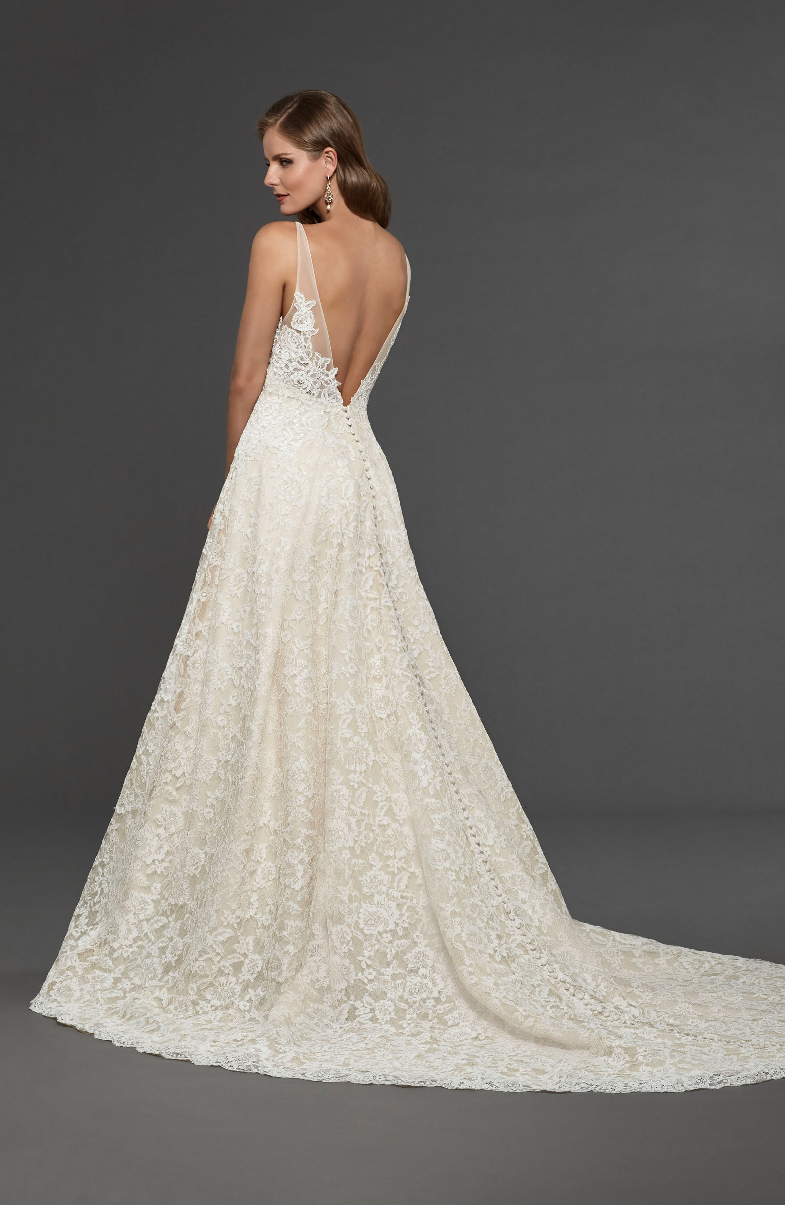 Suzanna Allover Lace Gown,                             Alternate thumbnail 2, color,                             Off White Nude