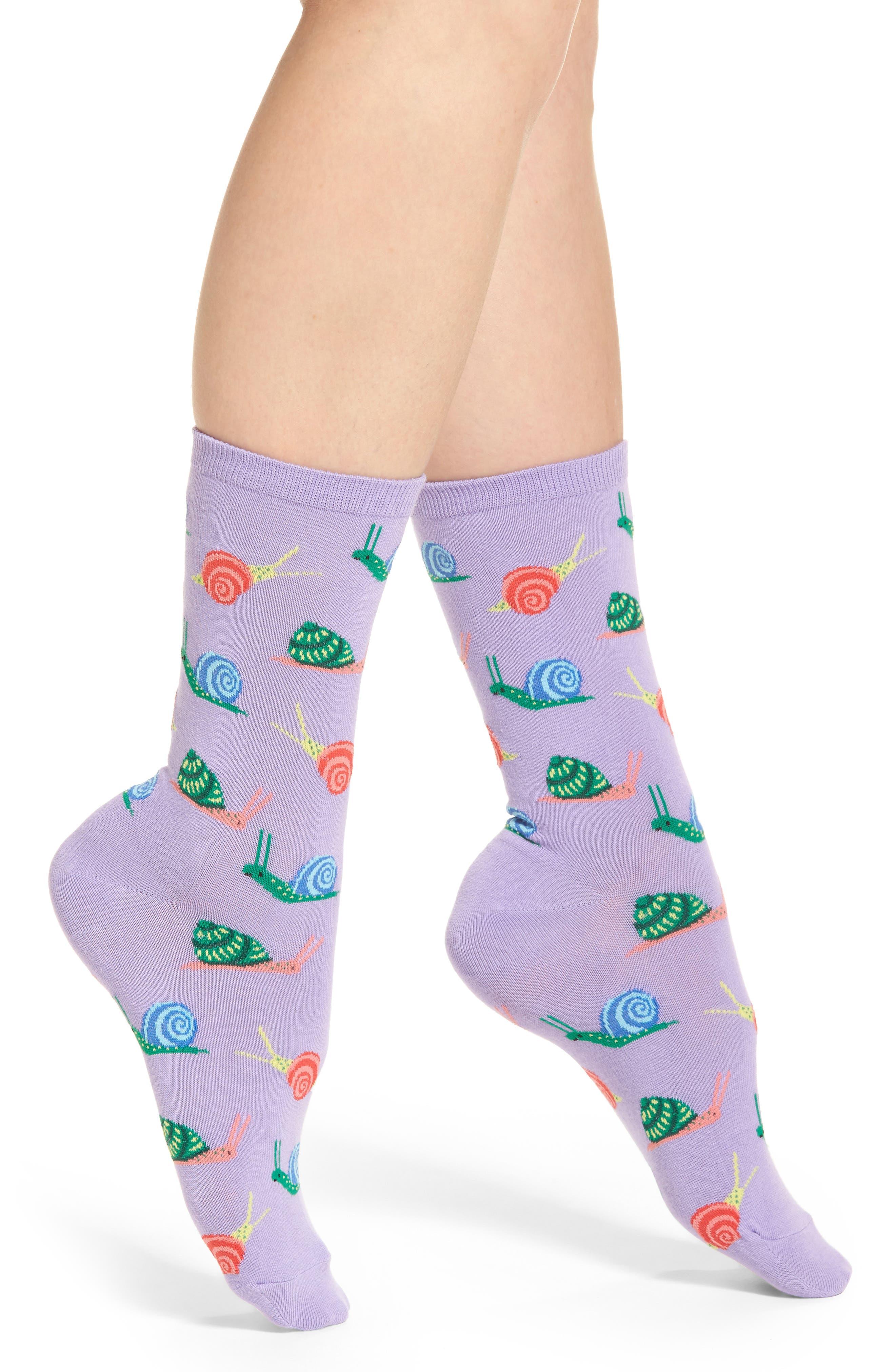 Snail Crew Socks,                             Main thumbnail 1, color,                             Lavender