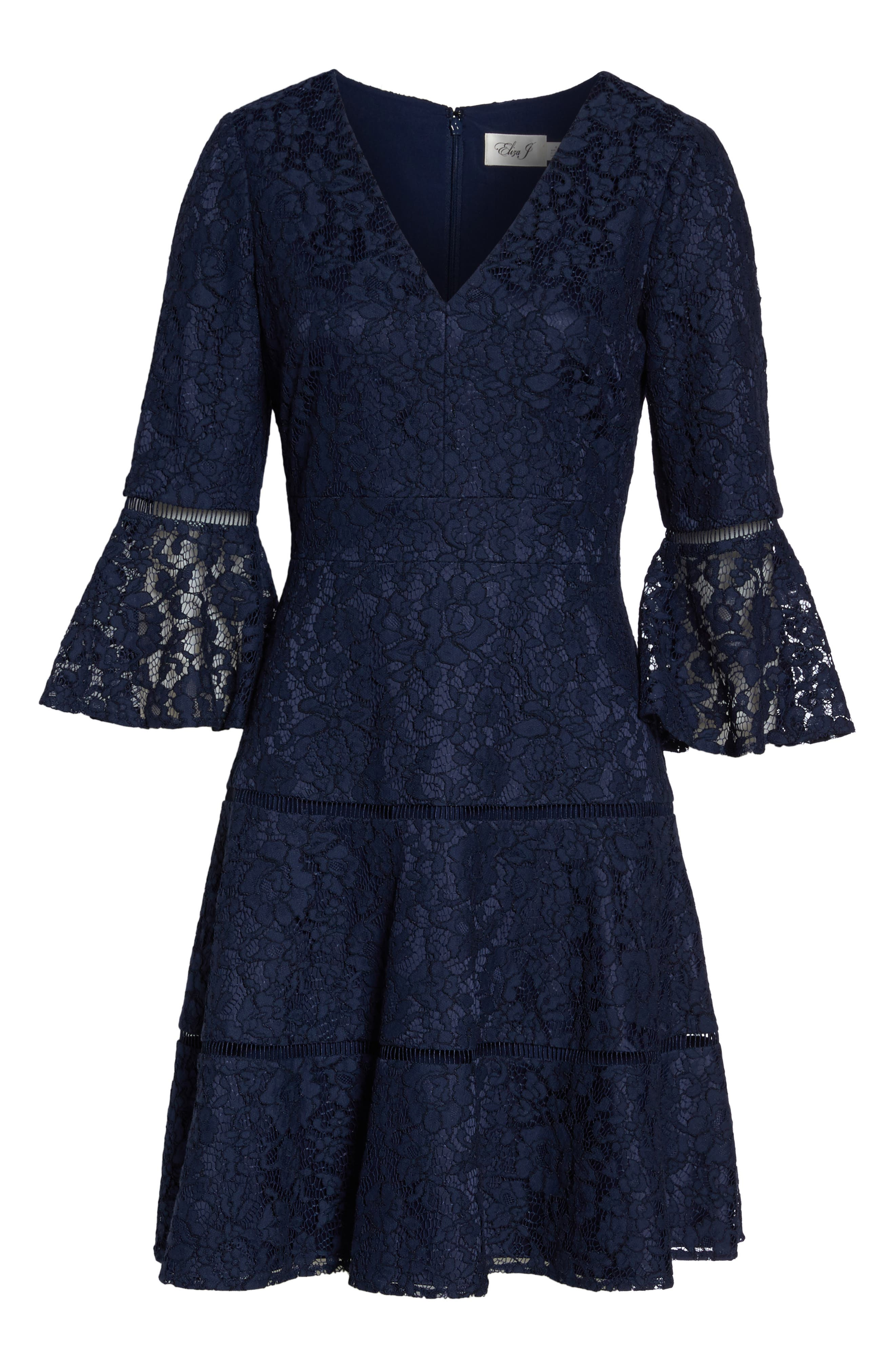 Bell Sleeve Lace Fit & Flare Dress,                             Alternate thumbnail 6, color,                             Navy