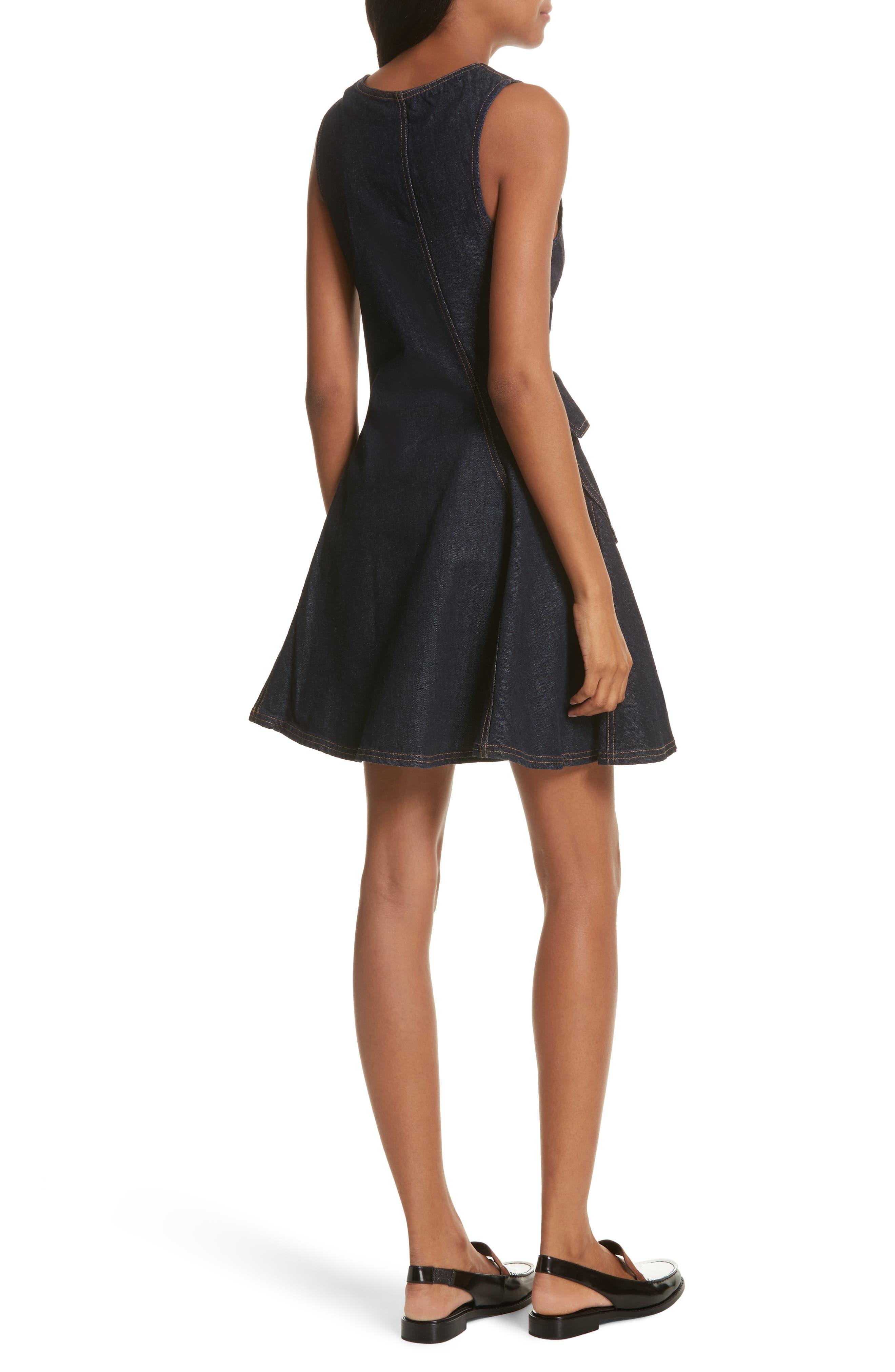 Fit & Flare Denim Dress,                             Alternate thumbnail 2, color,                             Indigo