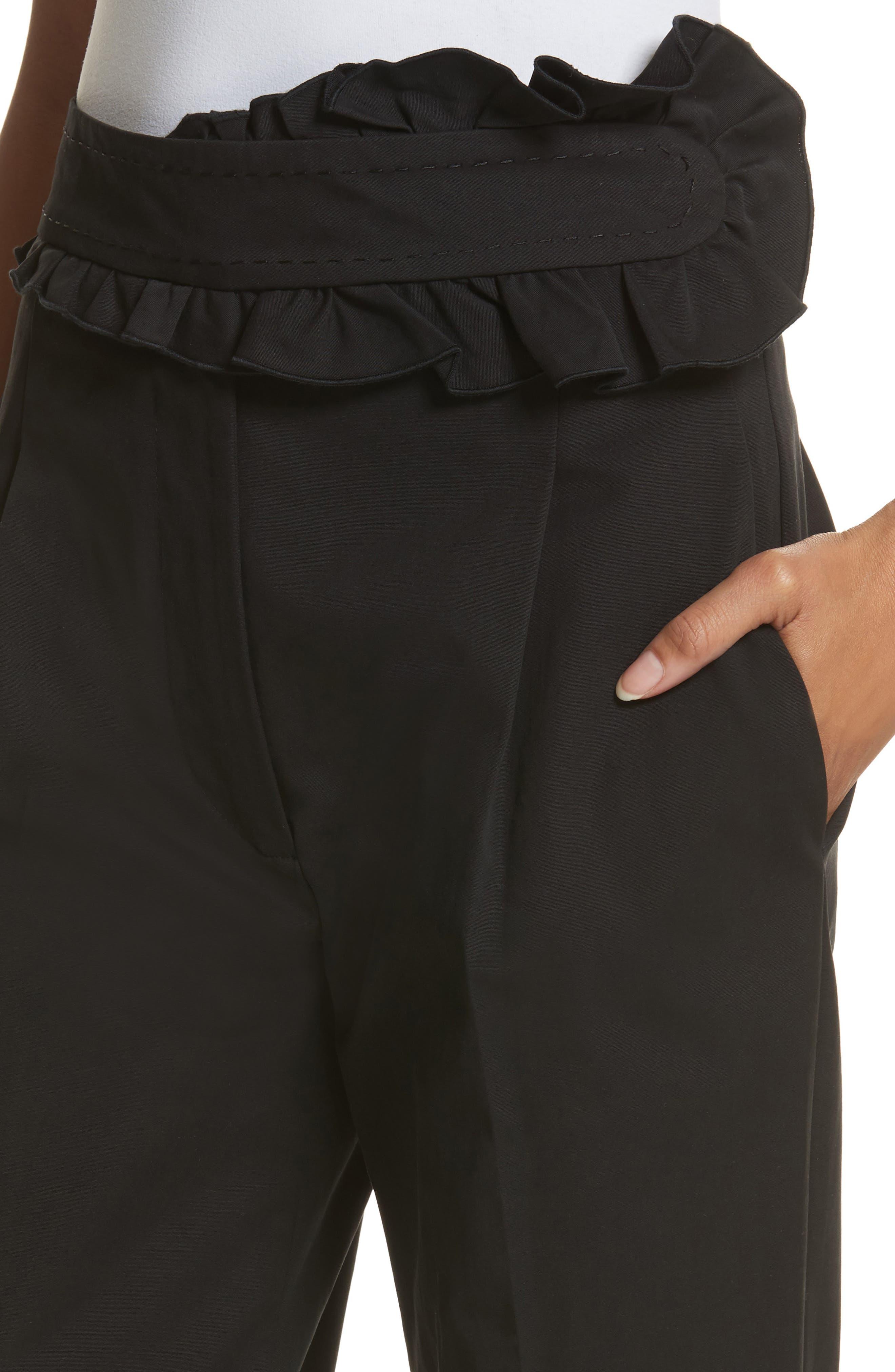 Ruffle Waist Crop Pants,                             Alternate thumbnail 4, color,                             Noir