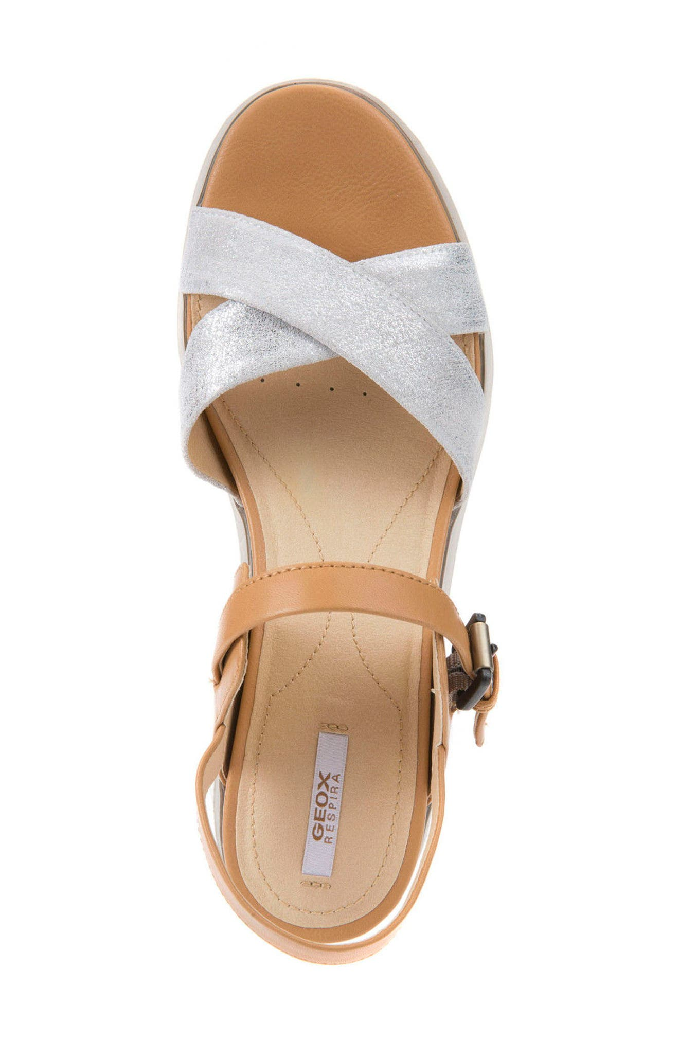 Radwa Platform Sandal,                             Alternate thumbnail 4, color,                             Off White Leather