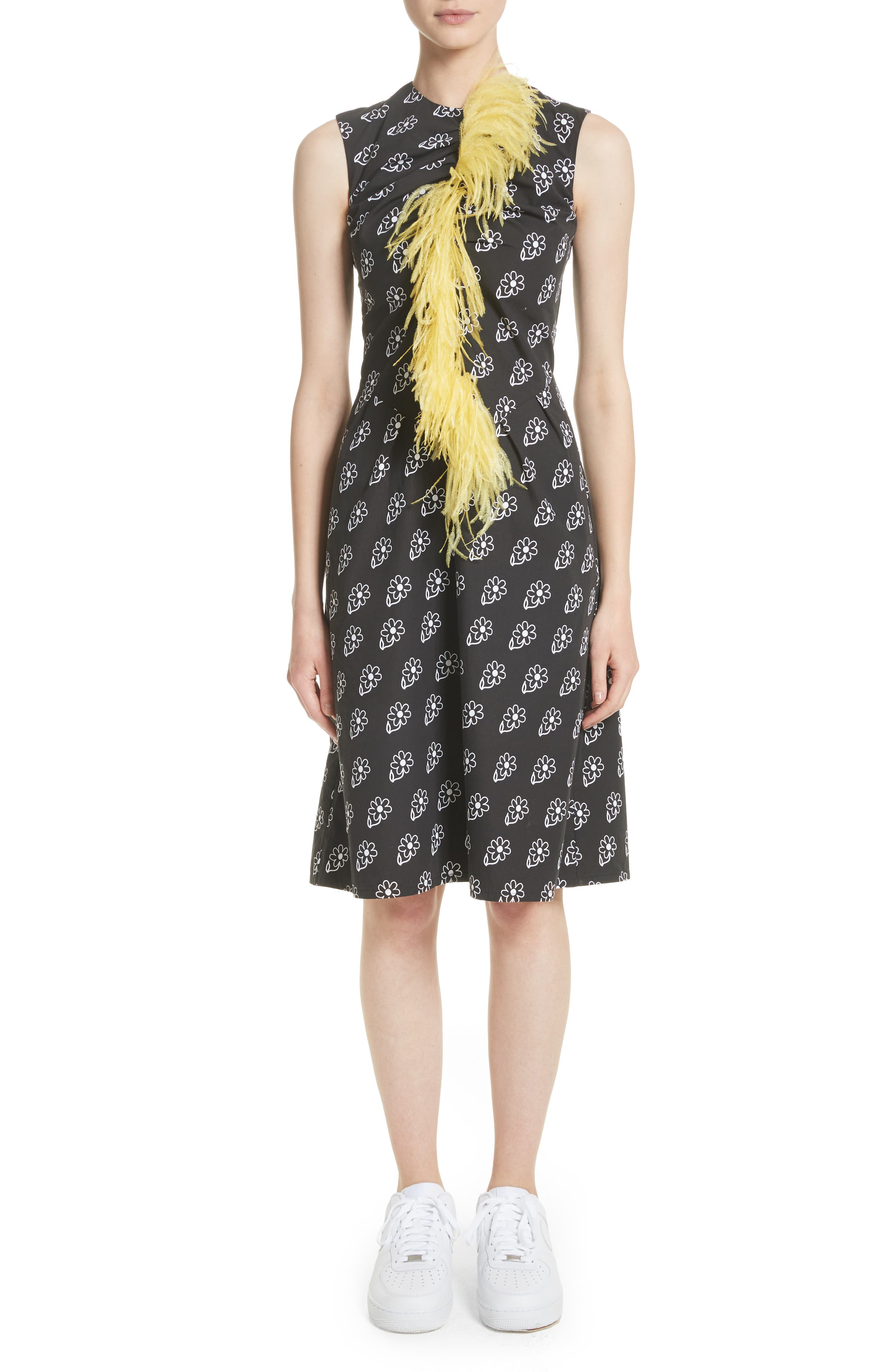 Bunny Sheath Dress with Ostrich Feather Trim,                             Main thumbnail 1, color,                             Black Daisy