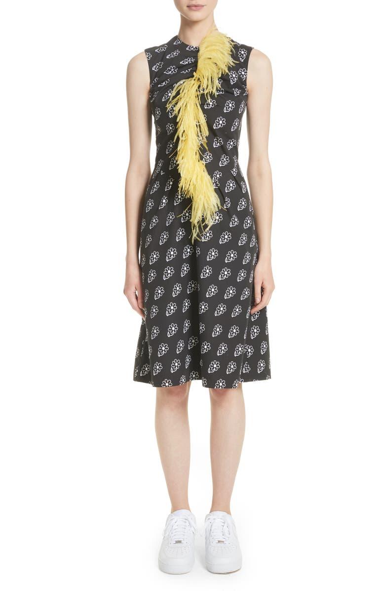 Bunny Sheath Dress with Ostrich Feather Trim