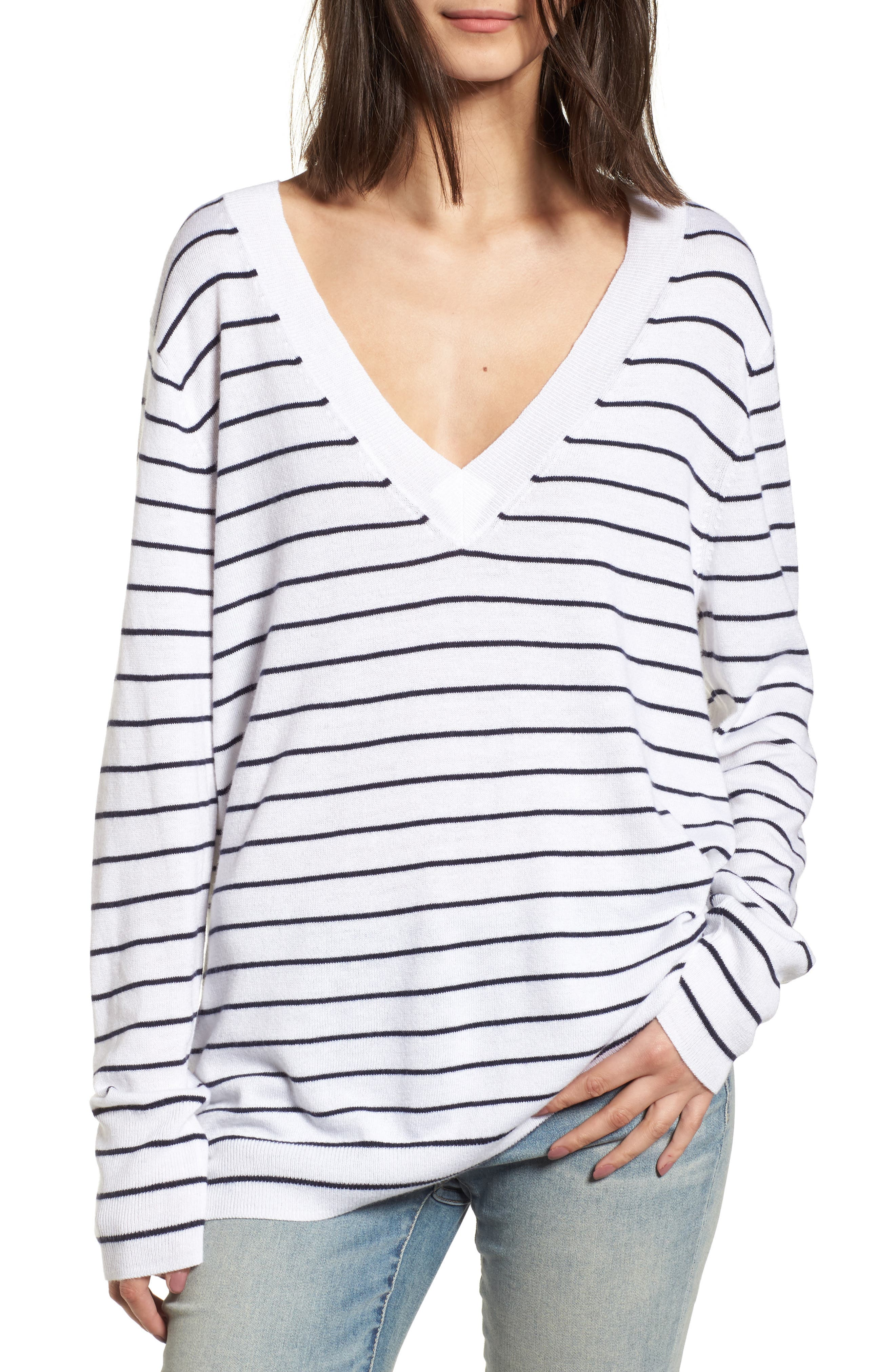 Slouchy Sweater,                             Main thumbnail 1, color,                             White Little Stripe