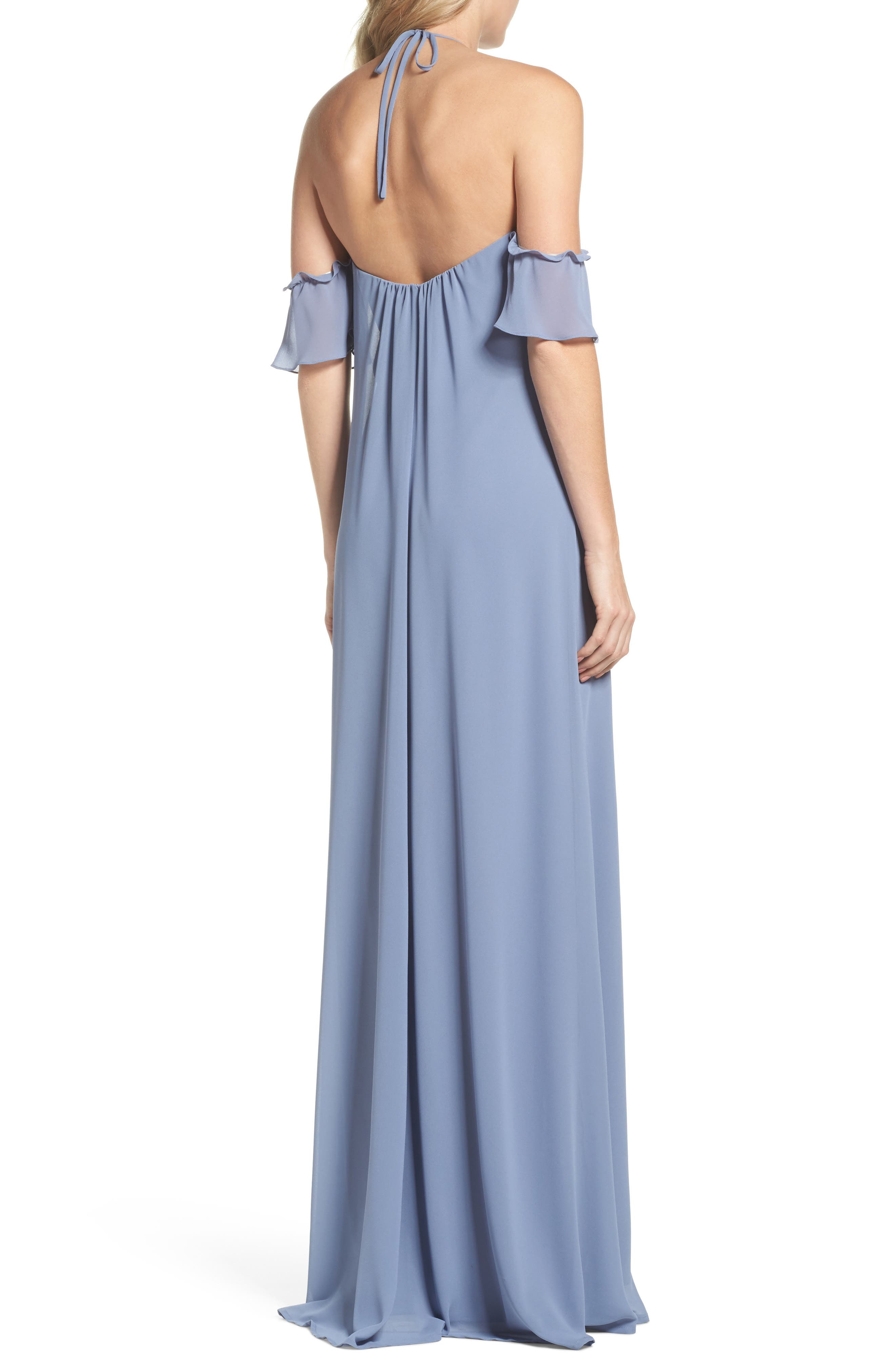 Ruffle Sleeve Halter Gown,                             Alternate thumbnail 2, color,                             Slate