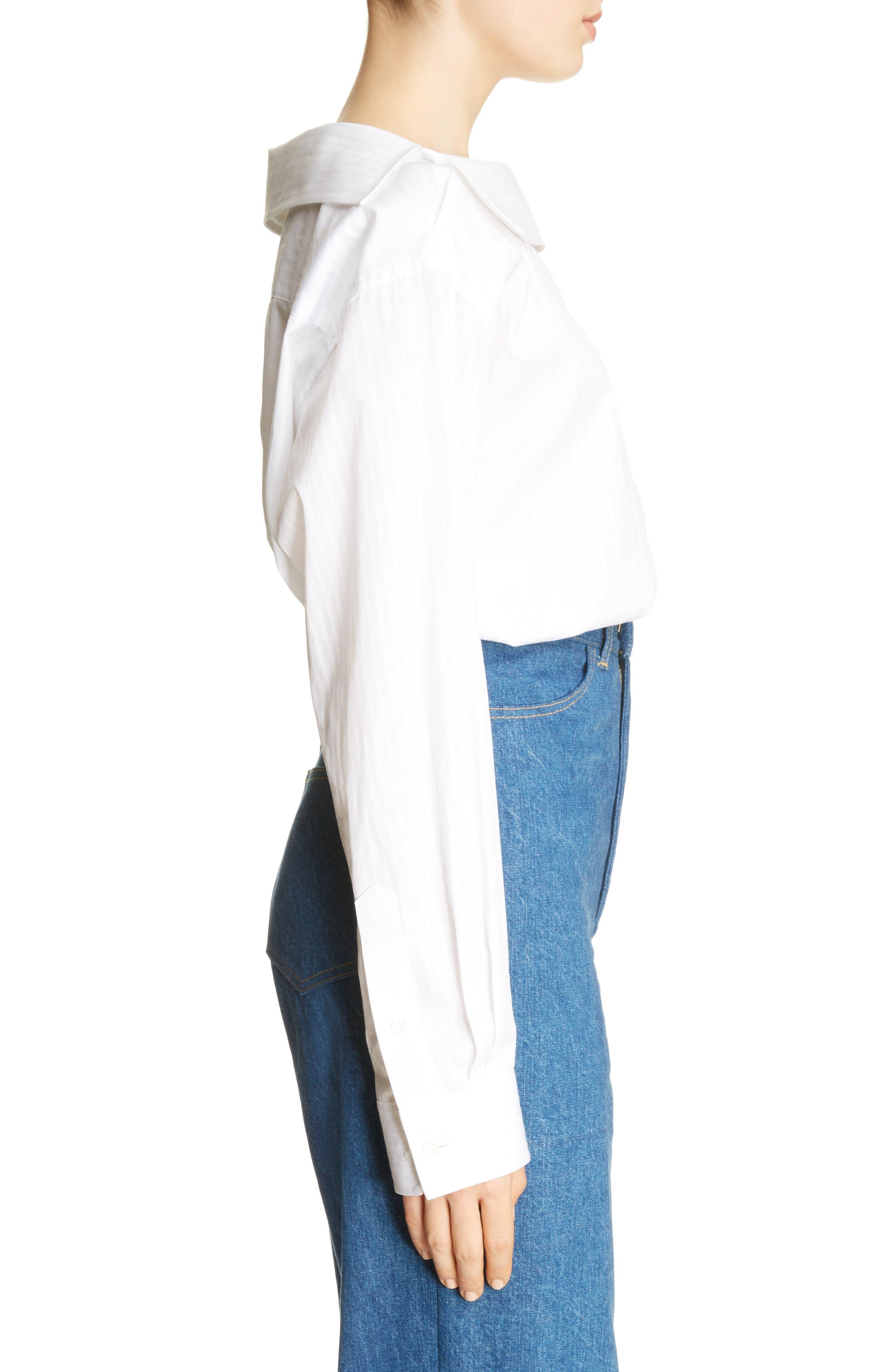 Asymmetrical One-Shoulder Blouse,                             Alternate thumbnail 3, color,                             White