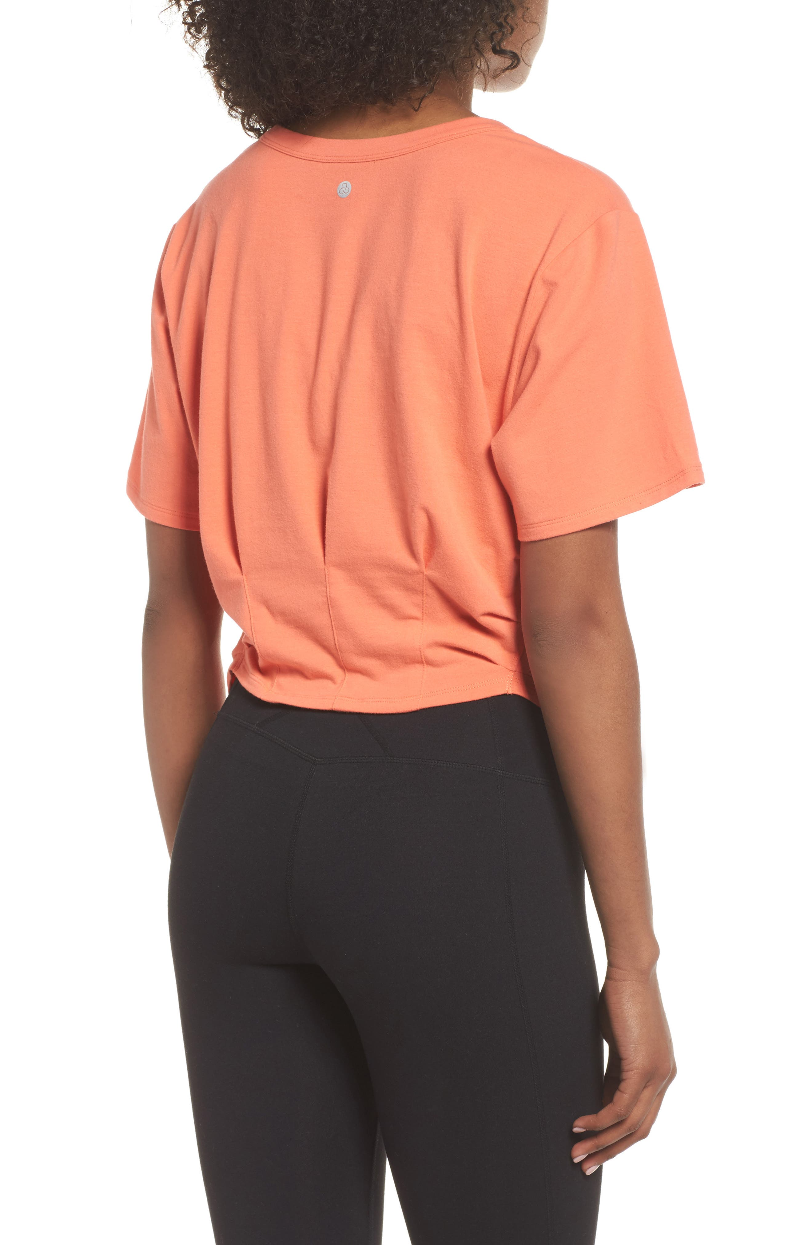 Knotty Crop Tee,                             Alternate thumbnail 2, color,                             Coral Reef