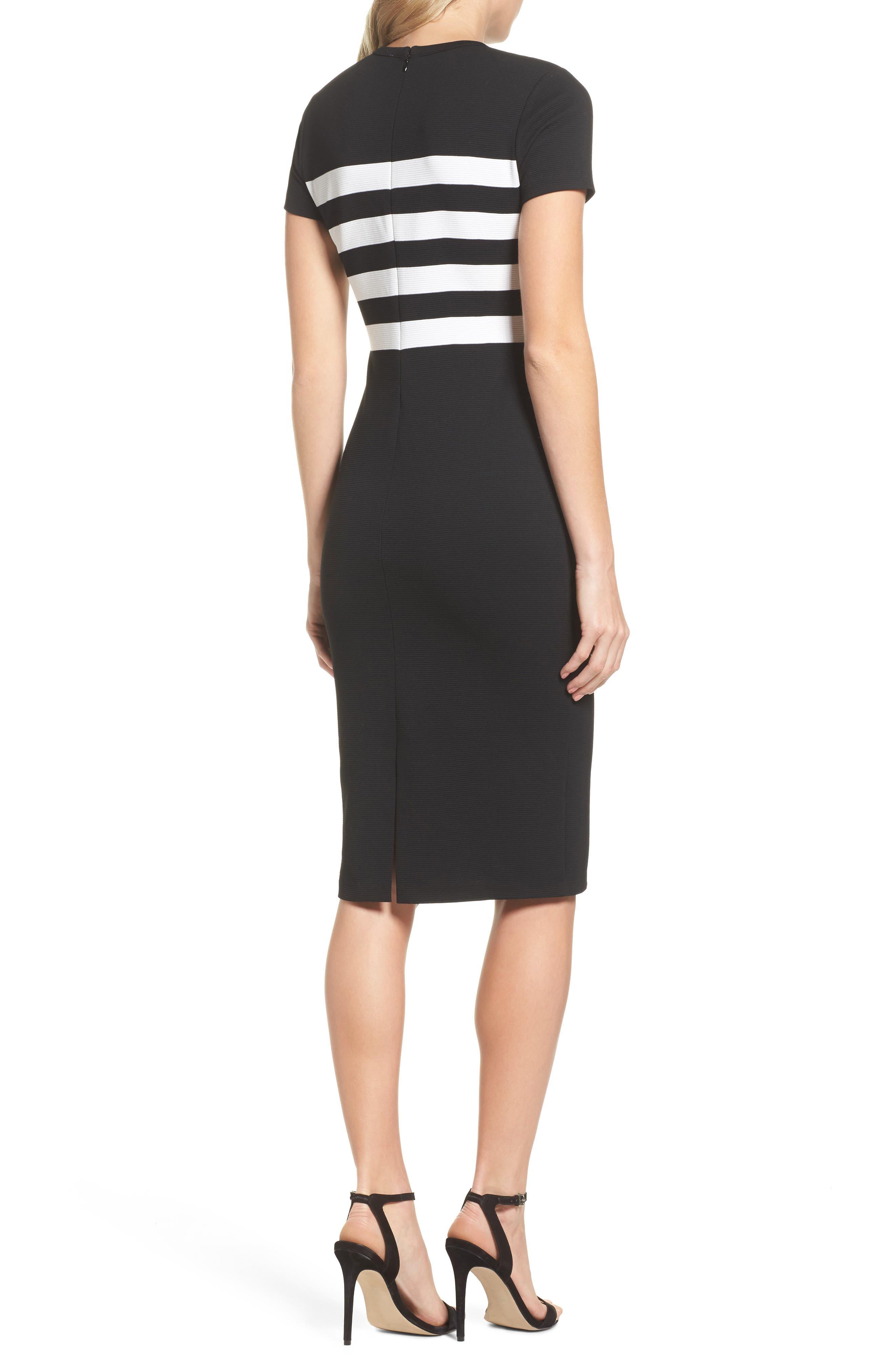 Stripe Ottoman Sheath Dress,                             Alternate thumbnail 2, color,                             Black/ White