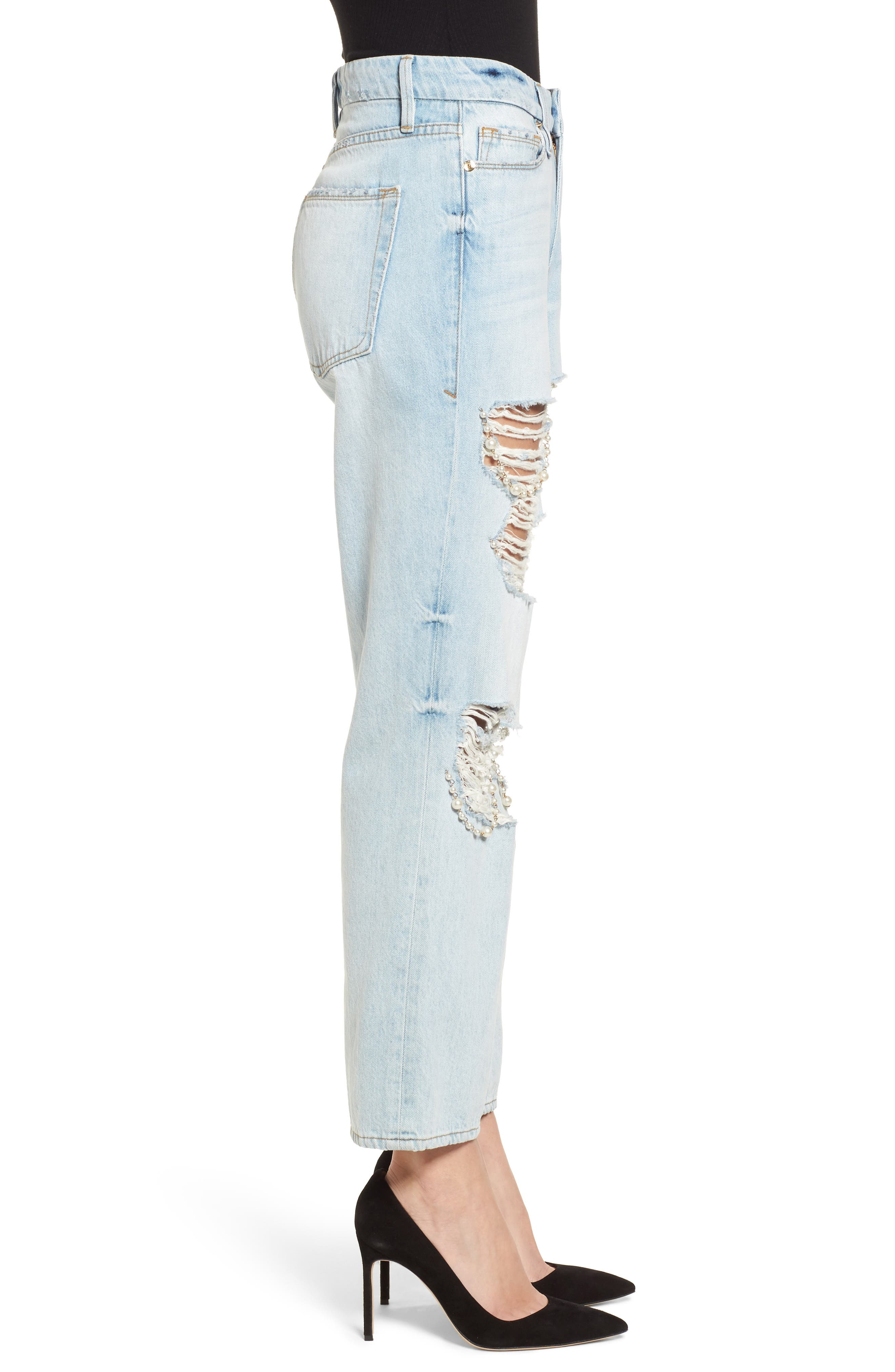 Good Straight Pearls High Waist Jeans,                             Alternate thumbnail 3, color,                             Blue143
