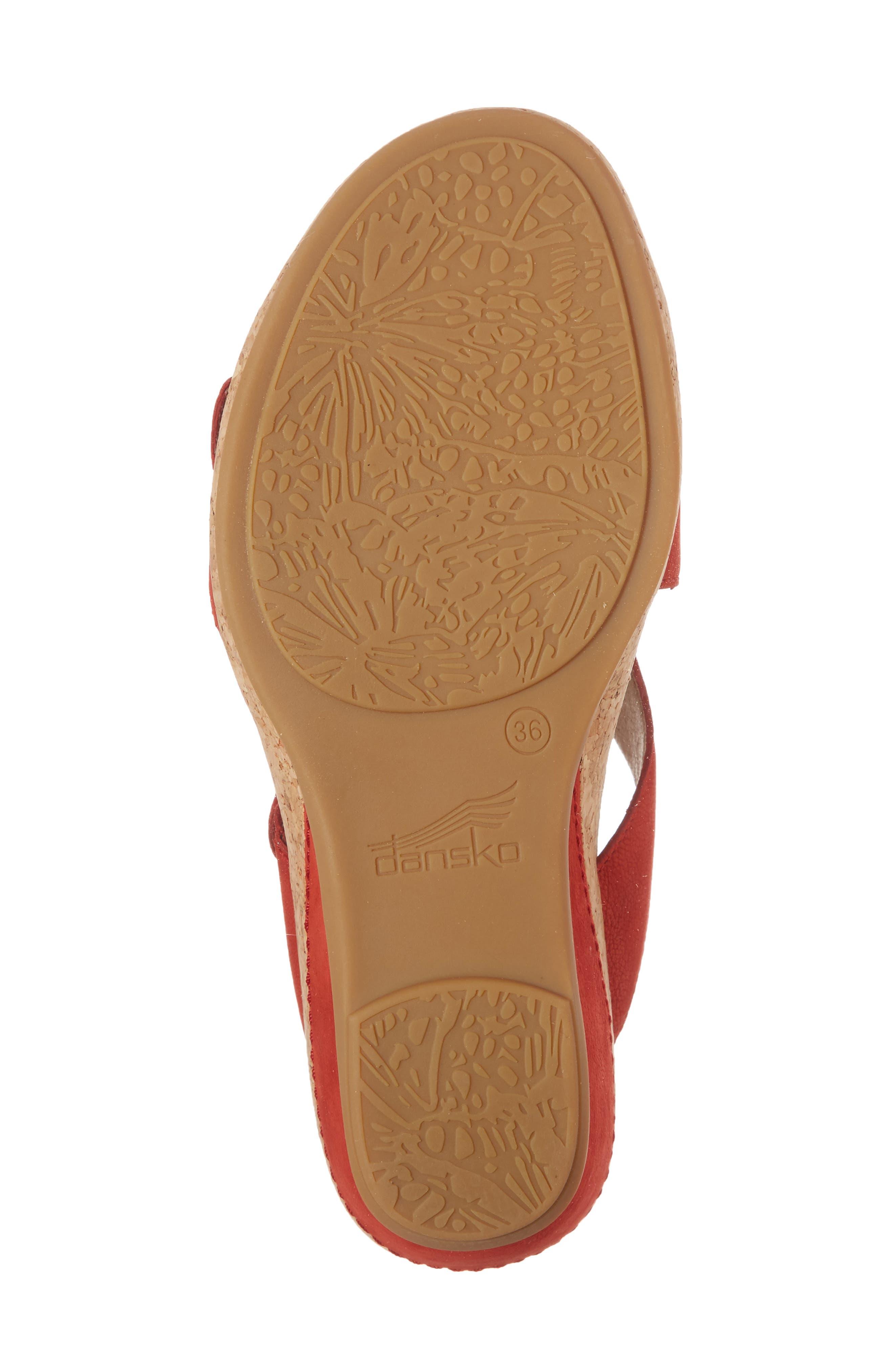Carla Wedge Slide Sandal,                             Alternate thumbnail 6, color,                             Tomato Milled Nubuck Leather