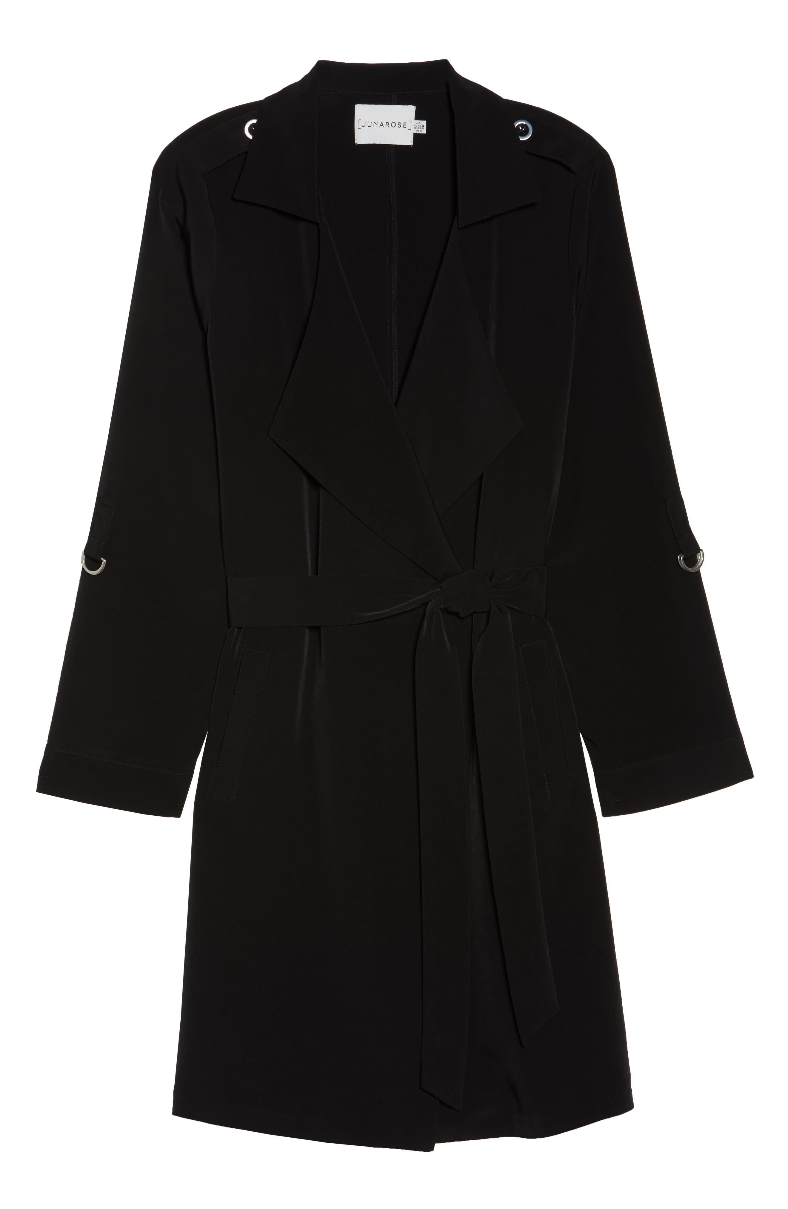 Kaiza Trench Coat,                             Alternate thumbnail 6, color,                             Black Beauty