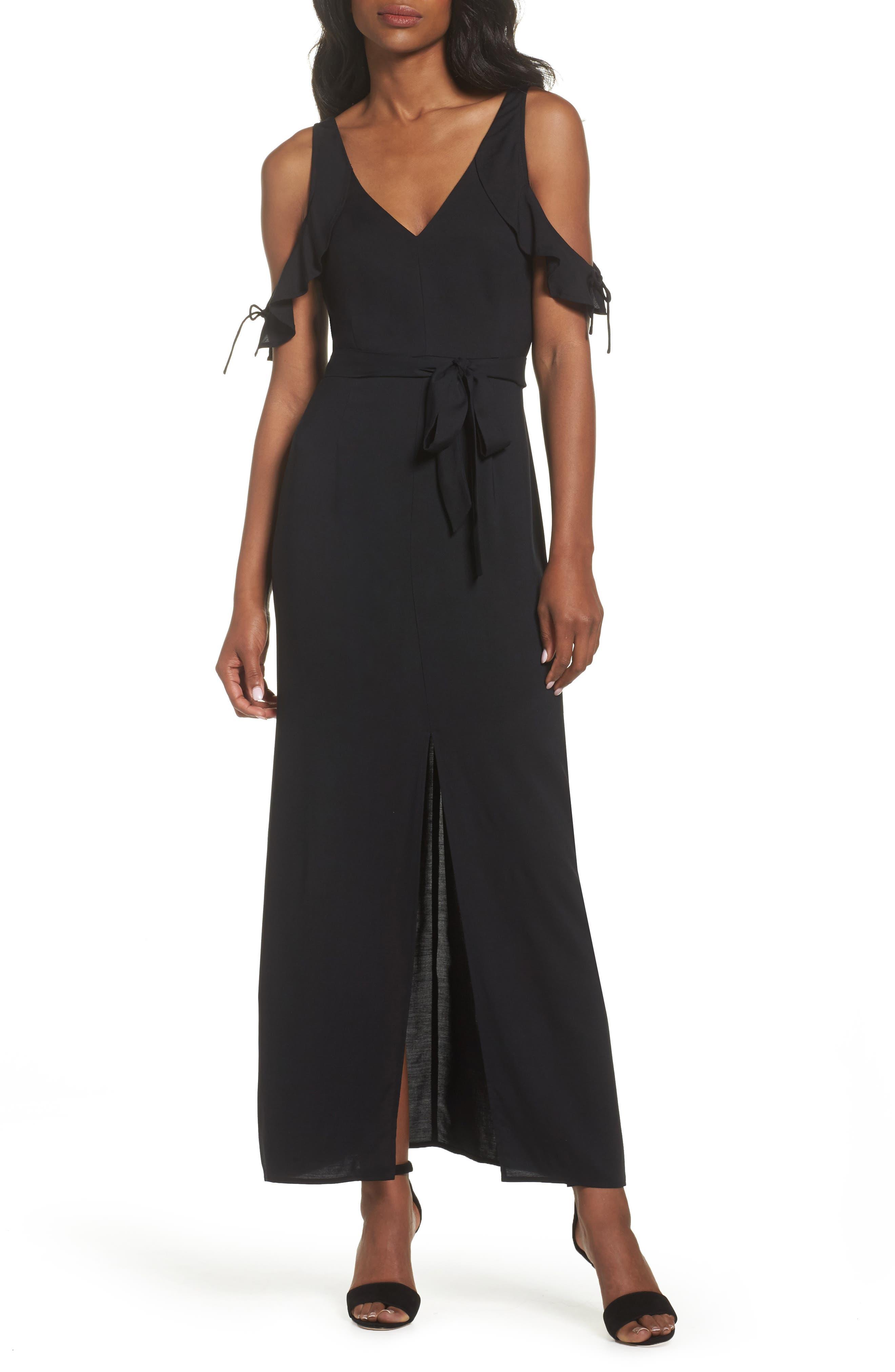 Lystra Cold Shoulder Maxi Dress,                         Main,                         color, Black