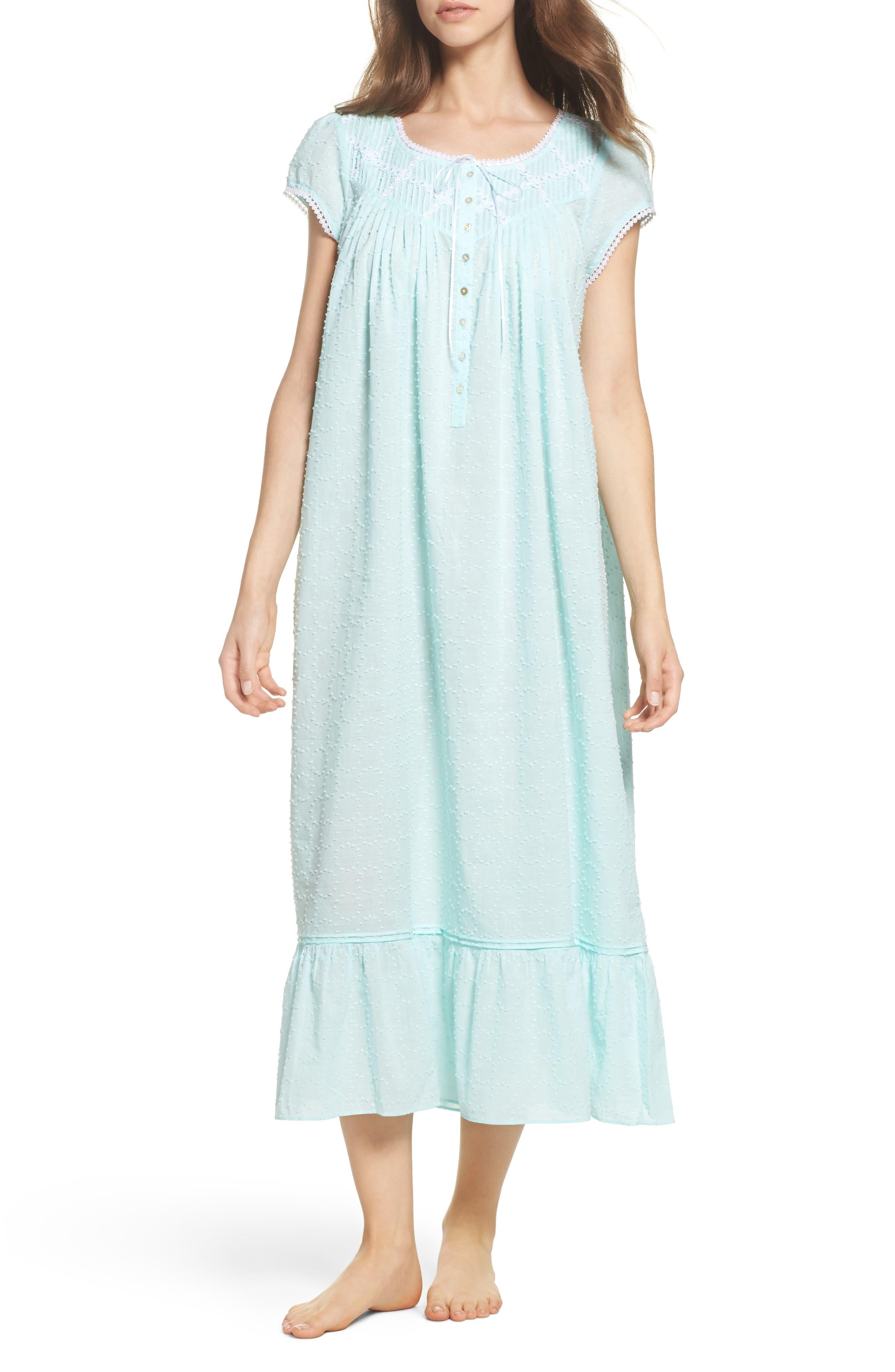 Cotton Ballet Nightgown,                         Main,                         color, Solid Aqua Circle Clip Dot