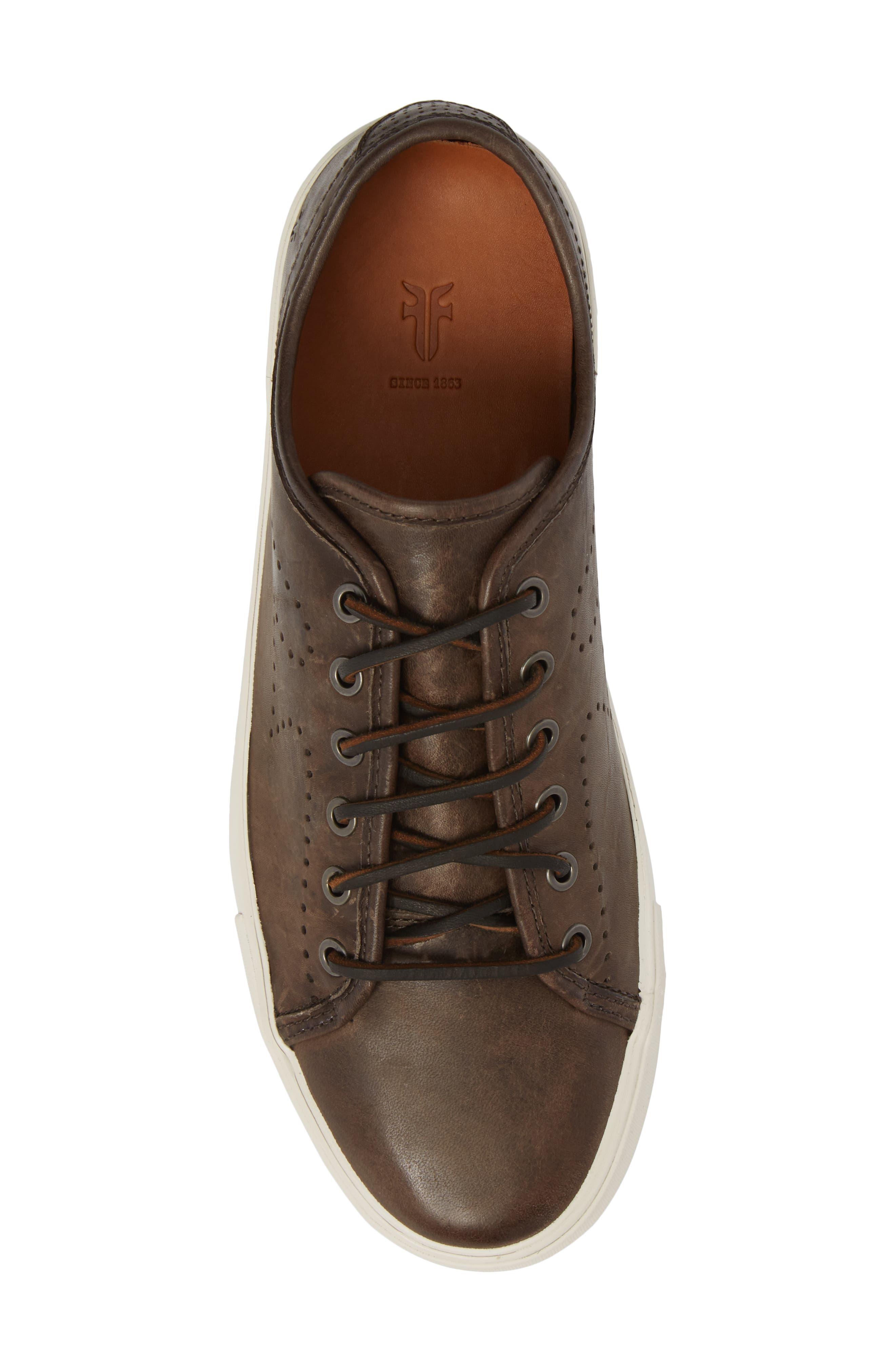 Brett Perforated Logo Low Top Sneaker,                             Alternate thumbnail 5, color,                             Slate Leather