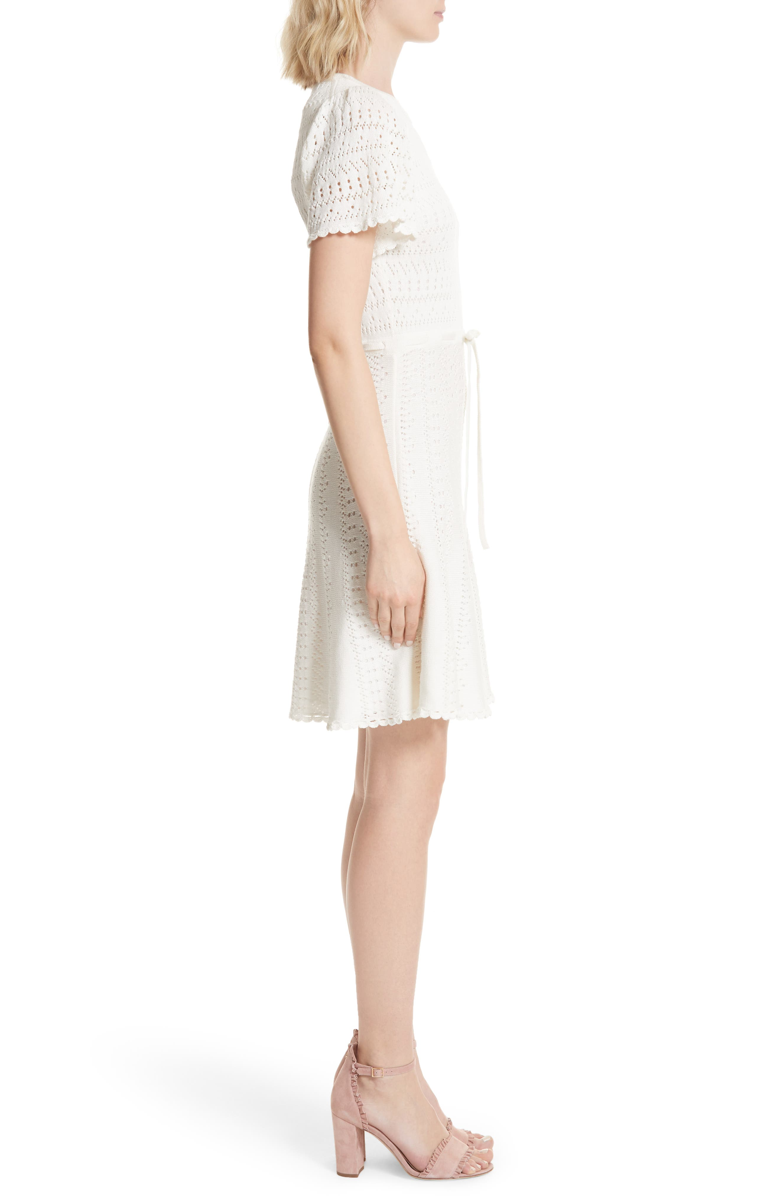 flutter sleeve A-line knit sweater dress,                             Alternate thumbnail 3, color,                             Cream