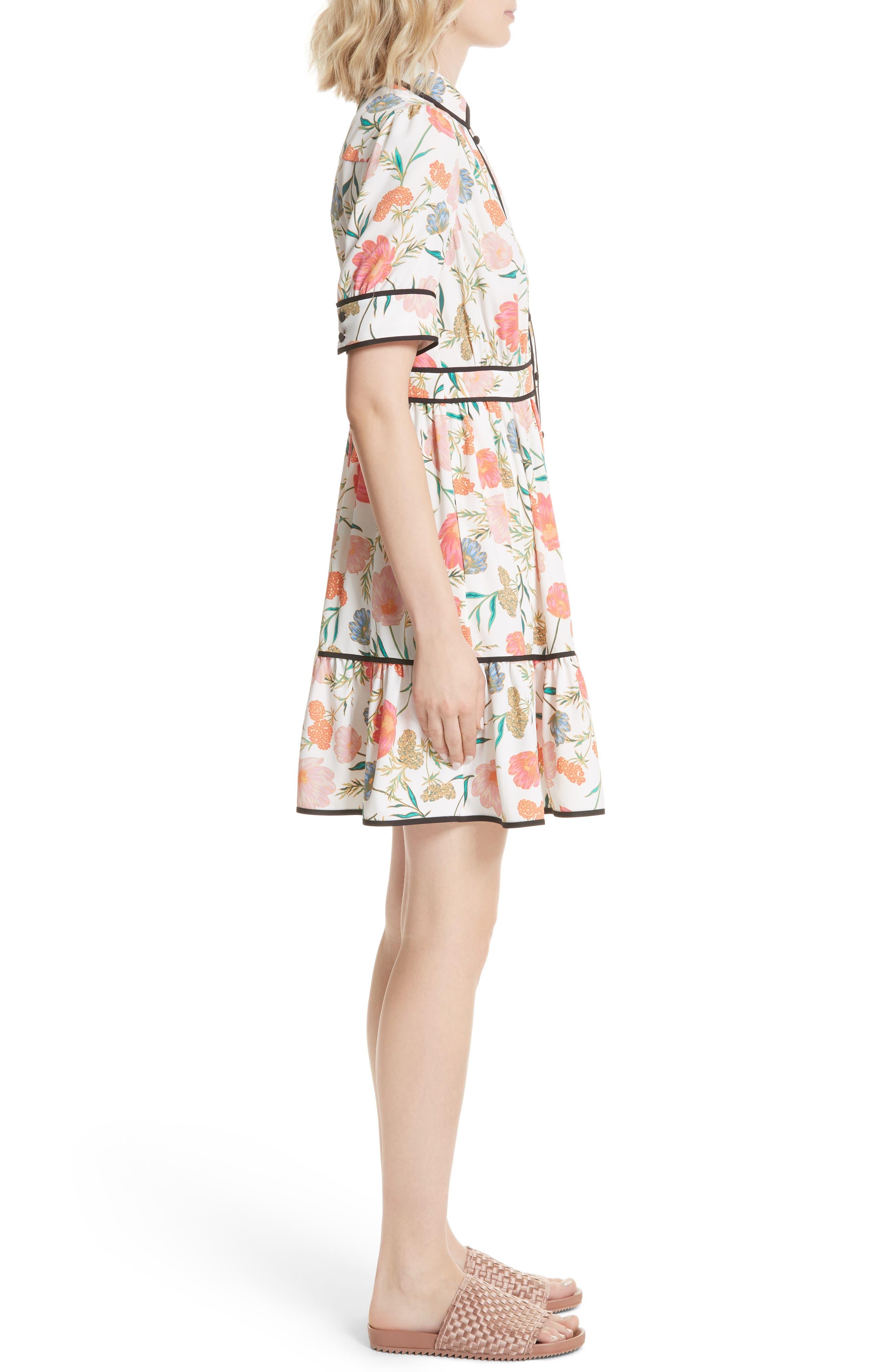 blossom print fluid shirtdress,                             Alternate thumbnail 3, color,                             Cream