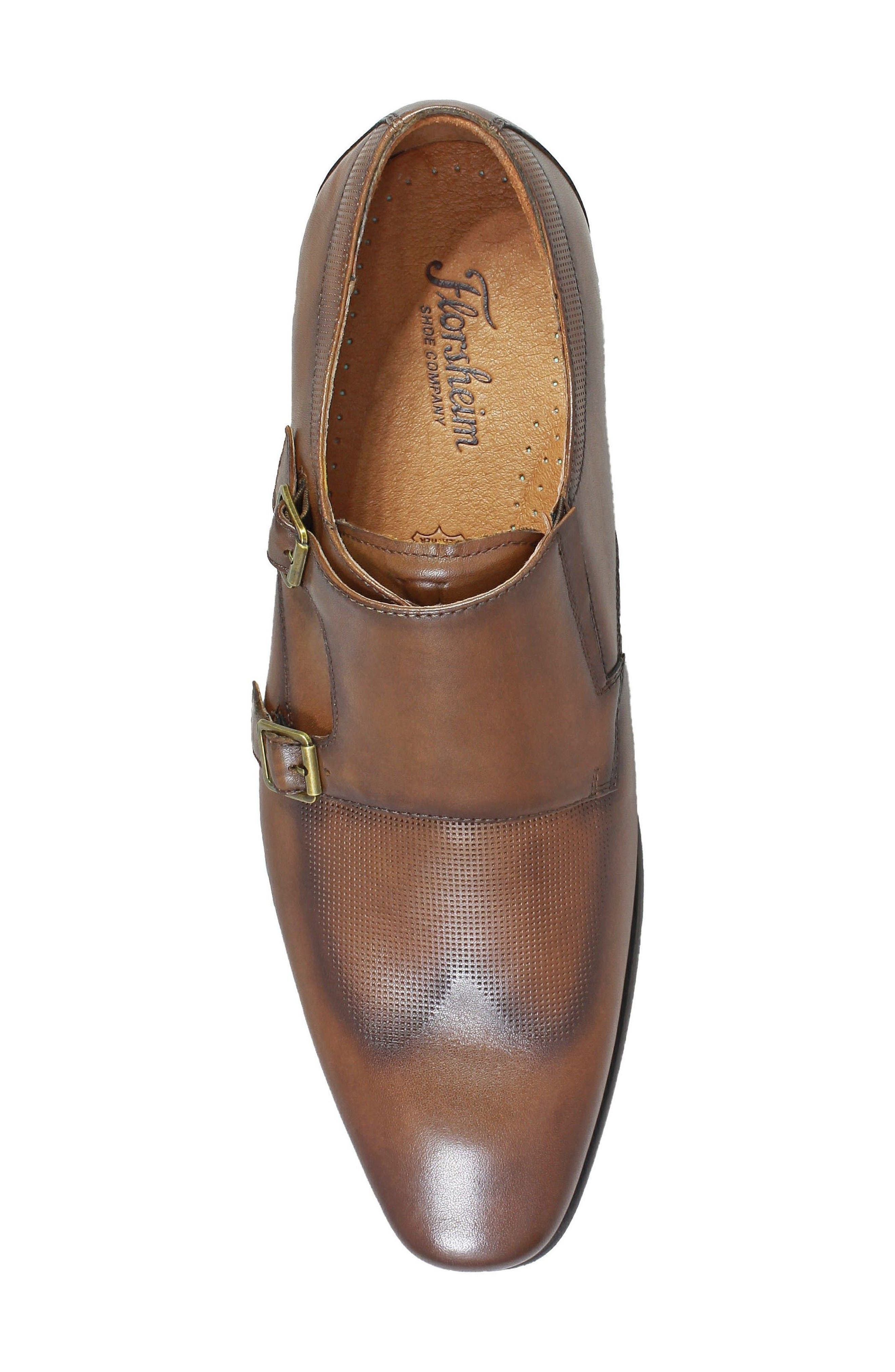 Postino Textured Double Strap Monk Shoe,                             Alternate thumbnail 5, color,                             Cognac Leather
