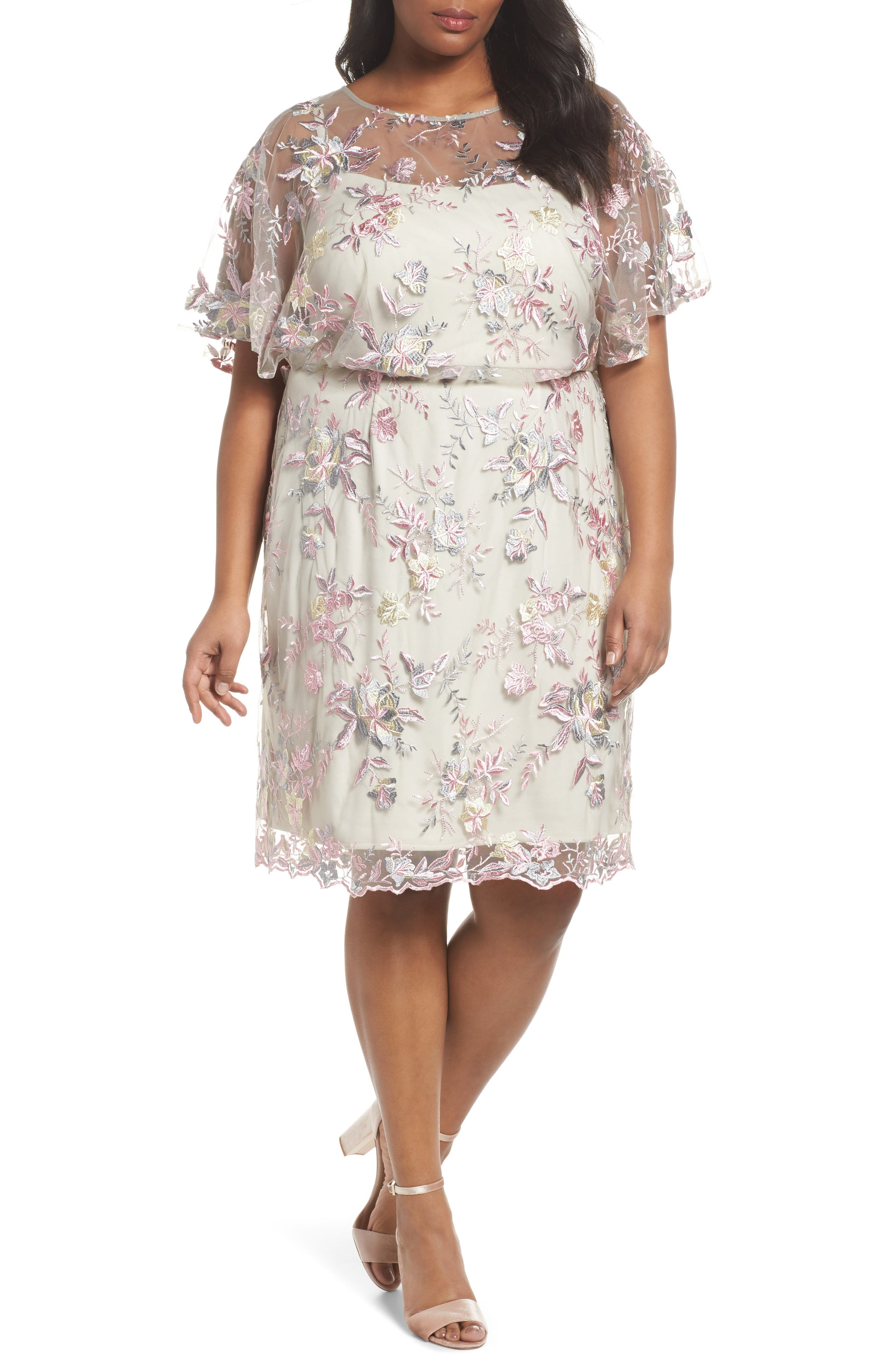 Embroidered Blouson Dress,                             Main thumbnail 1, color,                             Pink/ Nude
