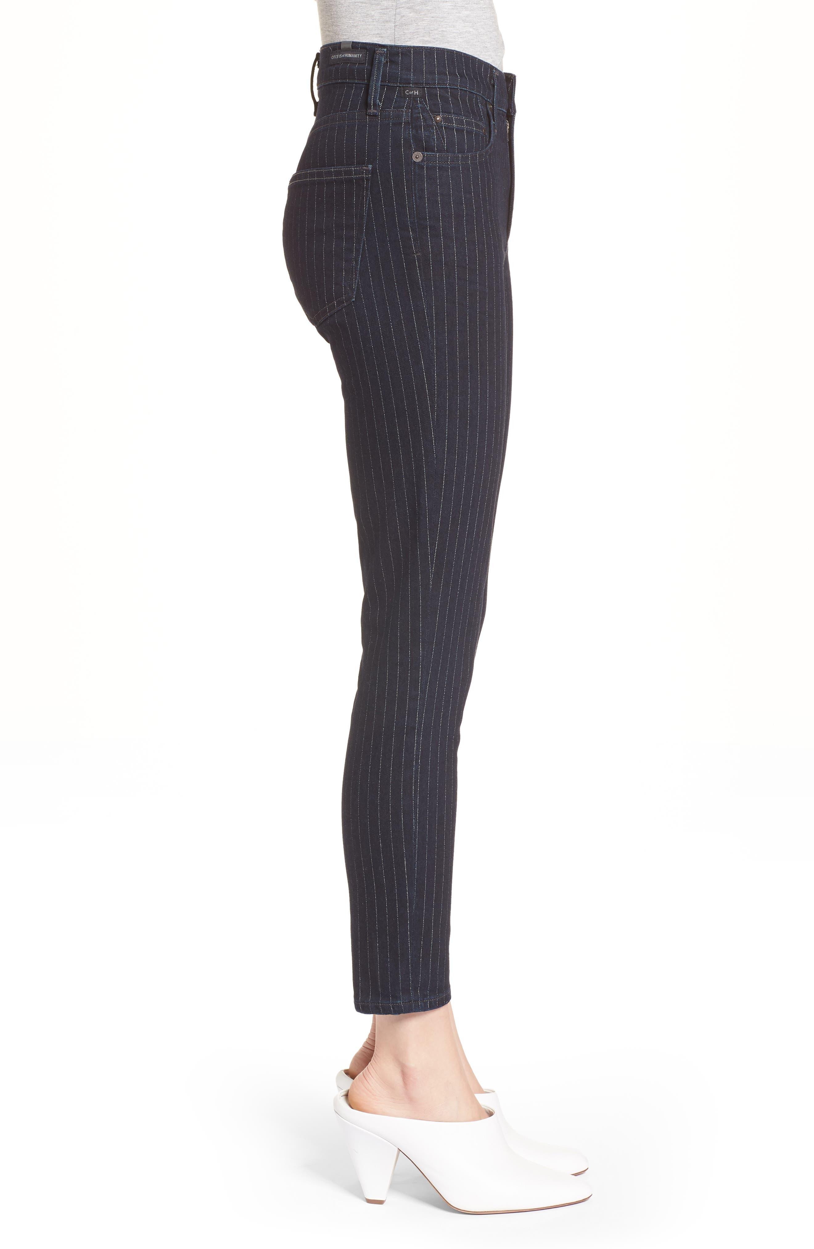 Rocket High Waist Crop Skinny Jeans,                             Alternate thumbnail 3, color,                             Pinstripe