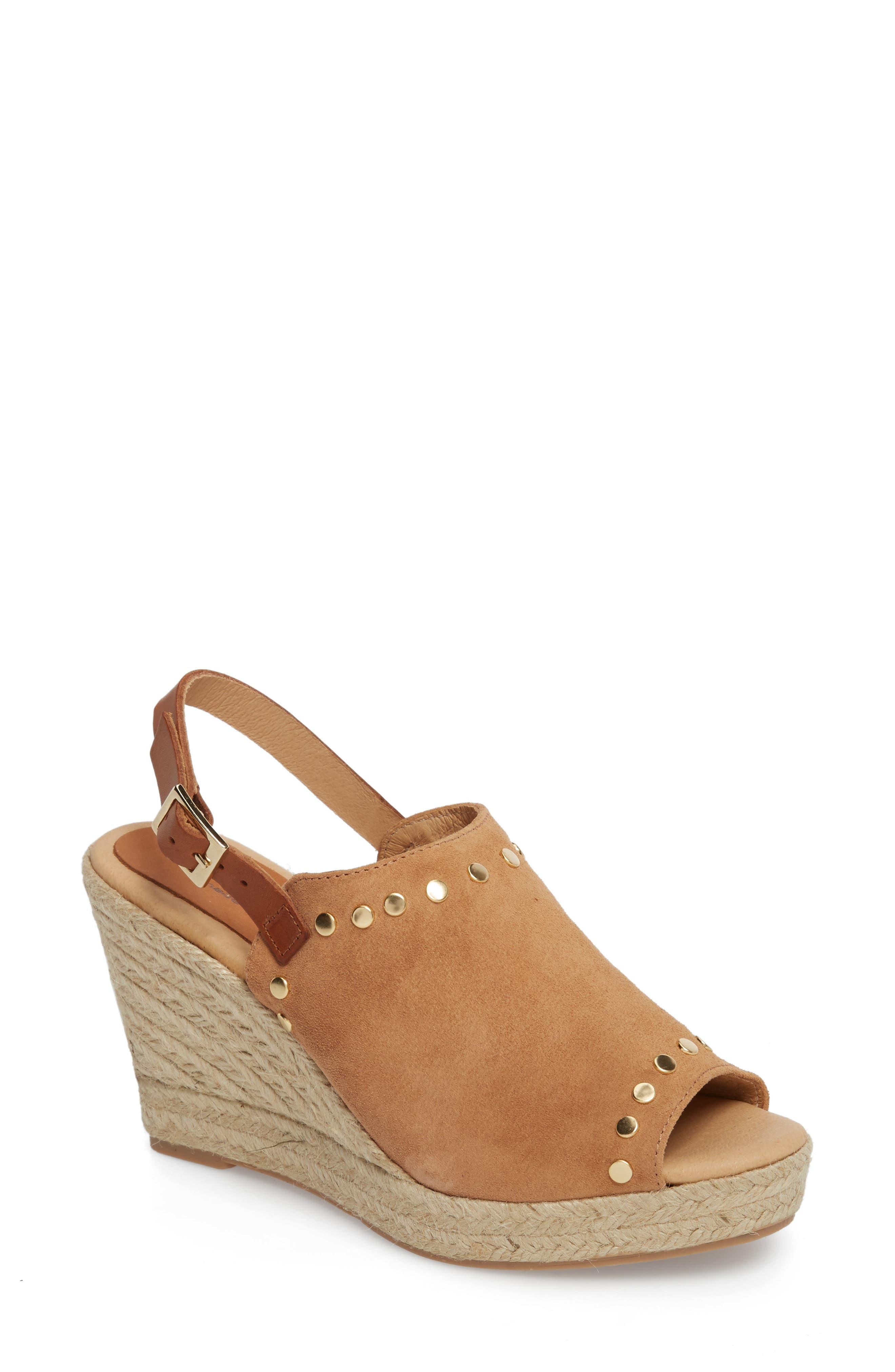 Rockstar Espadrille Wedge Sandal,                         Main,                         color, Camel Suede