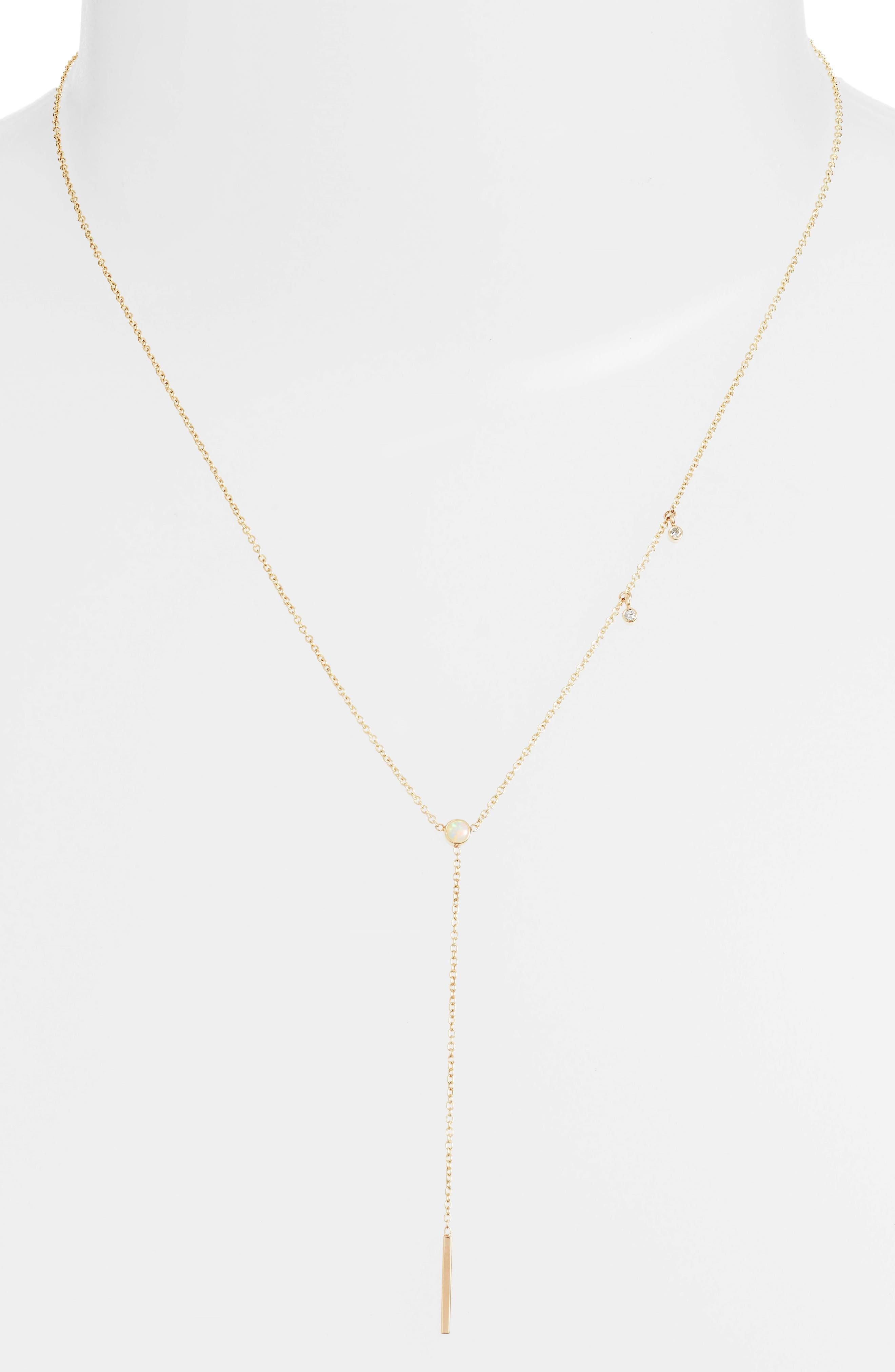 Diamond & Opal Bar Drop Lariat Necklace,                         Main,                         color, Yellow Gold