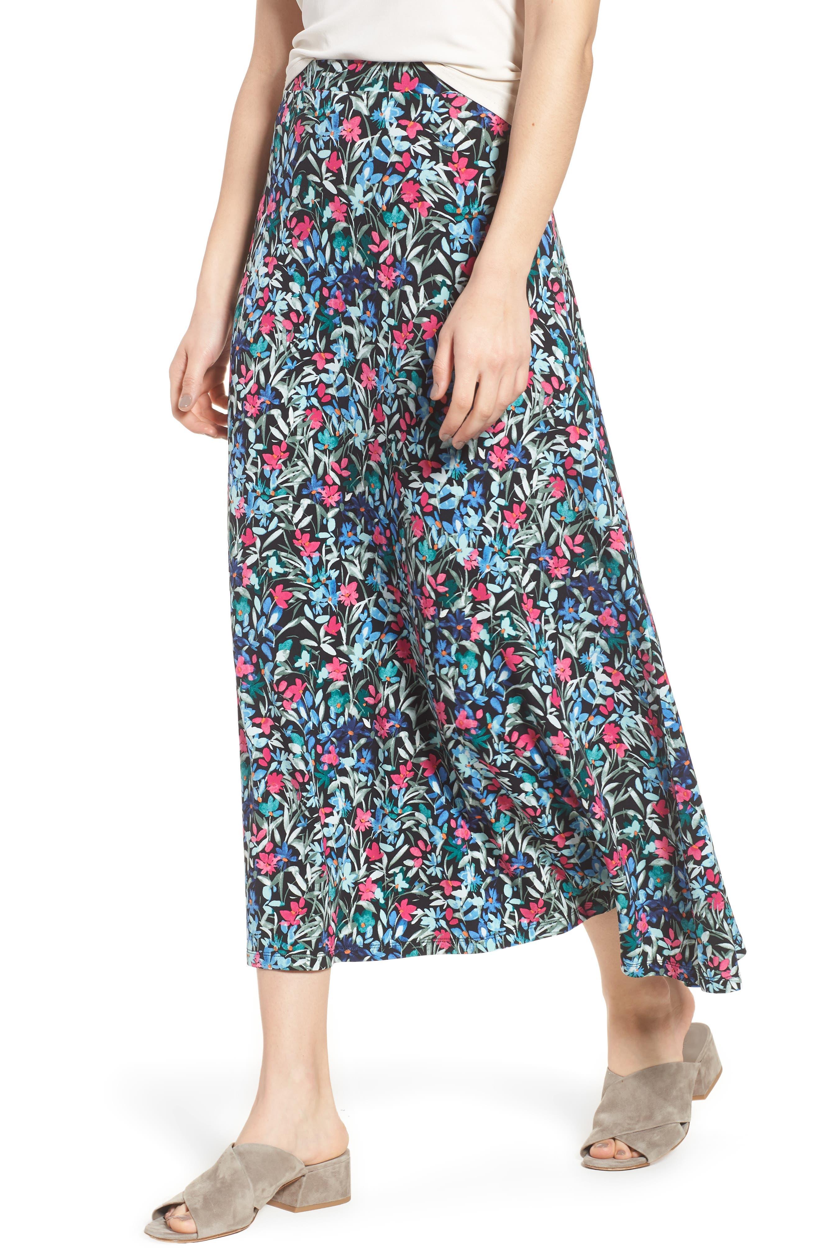 Radiant Flowers Maxi Skirt,                             Main thumbnail 1, color,                             060-Rich Black