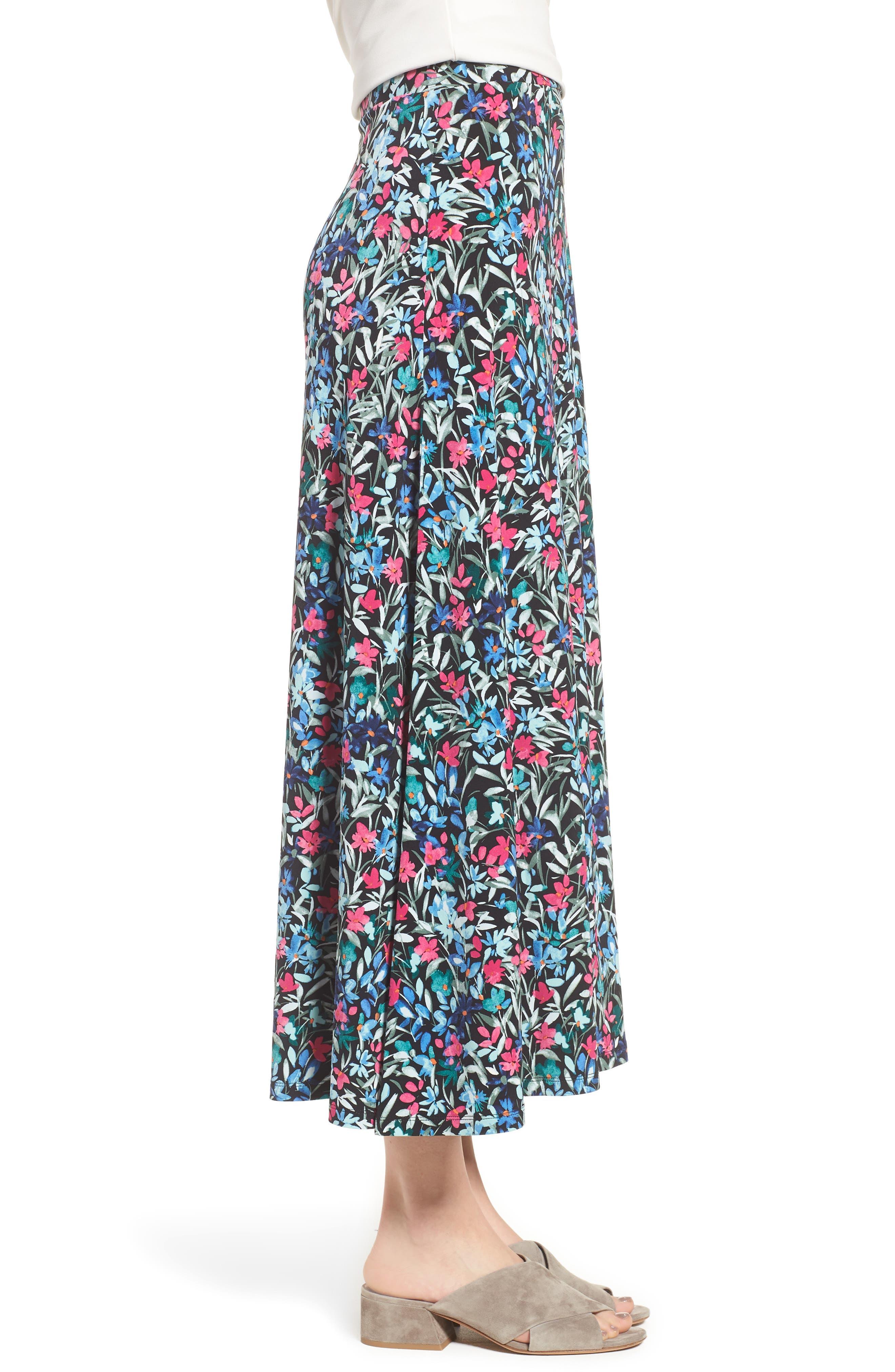 Radiant Flowers Maxi Skirt,                             Alternate thumbnail 3, color,                             060-Rich Black
