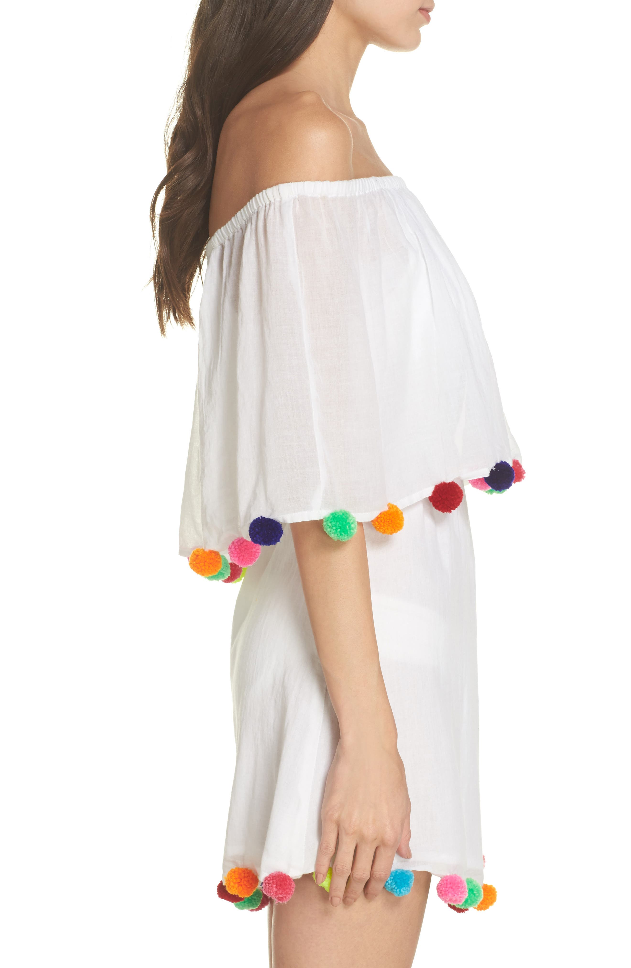 Pompom Festival Cover-Up Dress,                             Alternate thumbnail 3, color,                             White