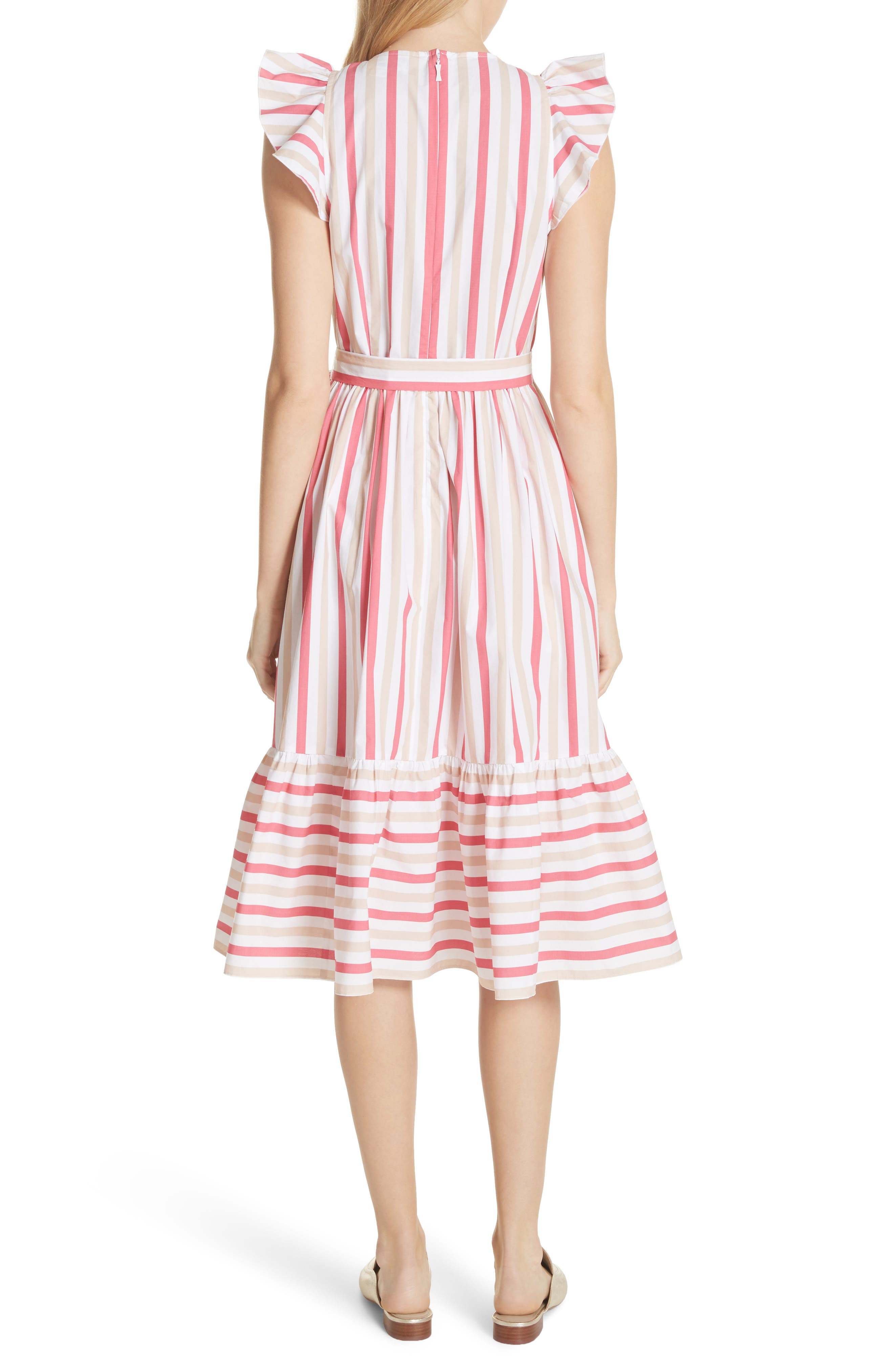stripe poplin midi dress,                             Alternate thumbnail 2, color,                             Peach Sherbet