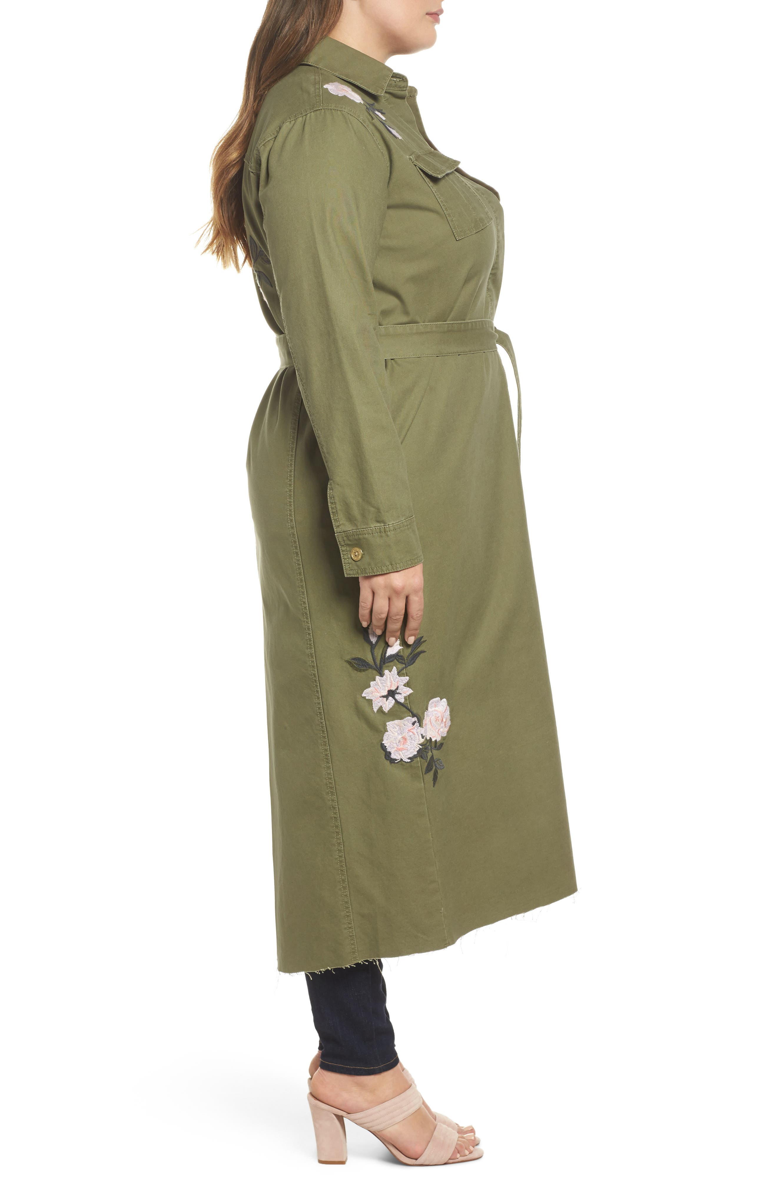 Embroidered Army Duster,                             Alternate thumbnail 3, color,                             Army