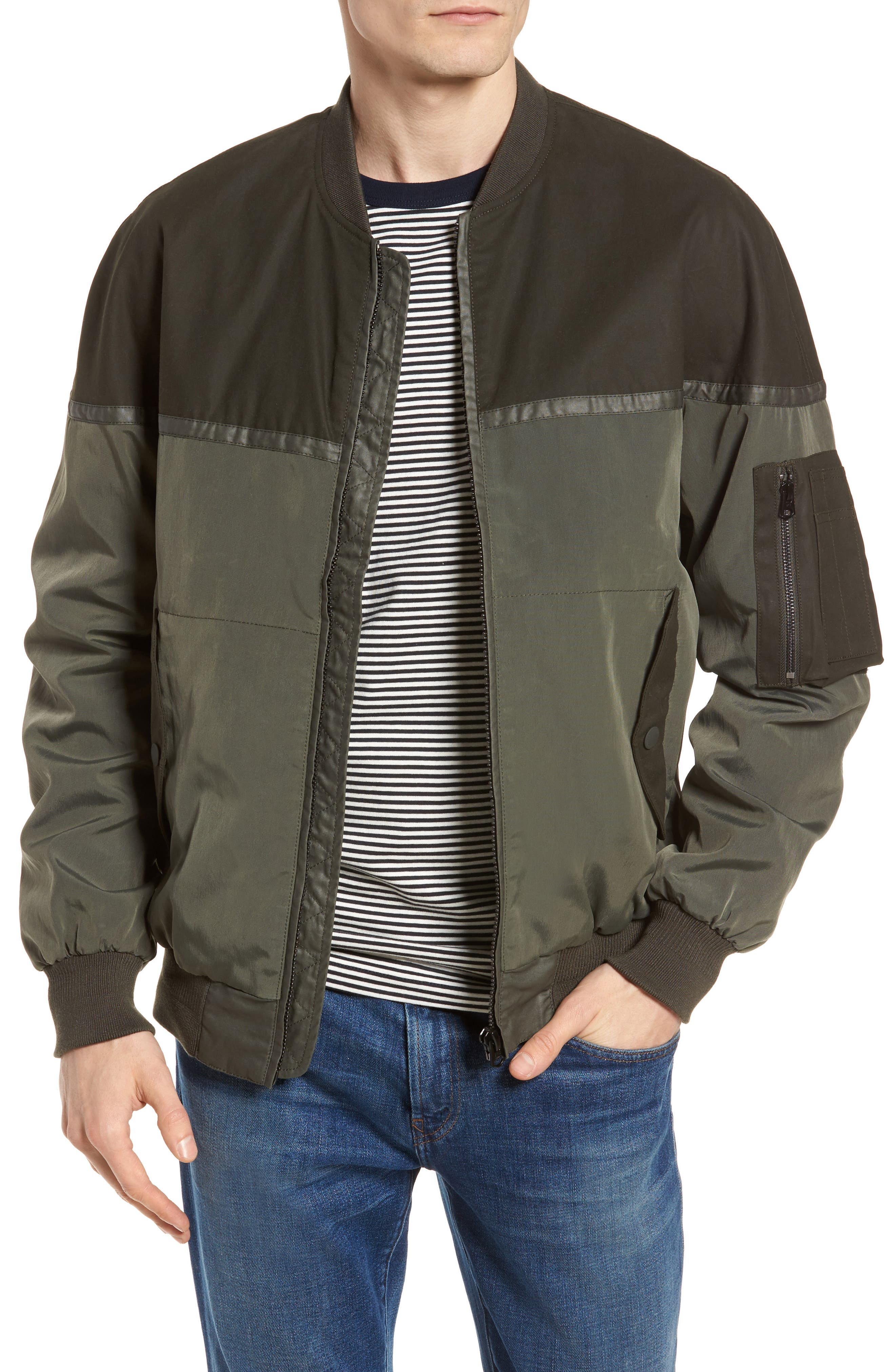Patchwork Waxed Bomber Jacket,                         Main,                         color, Combat