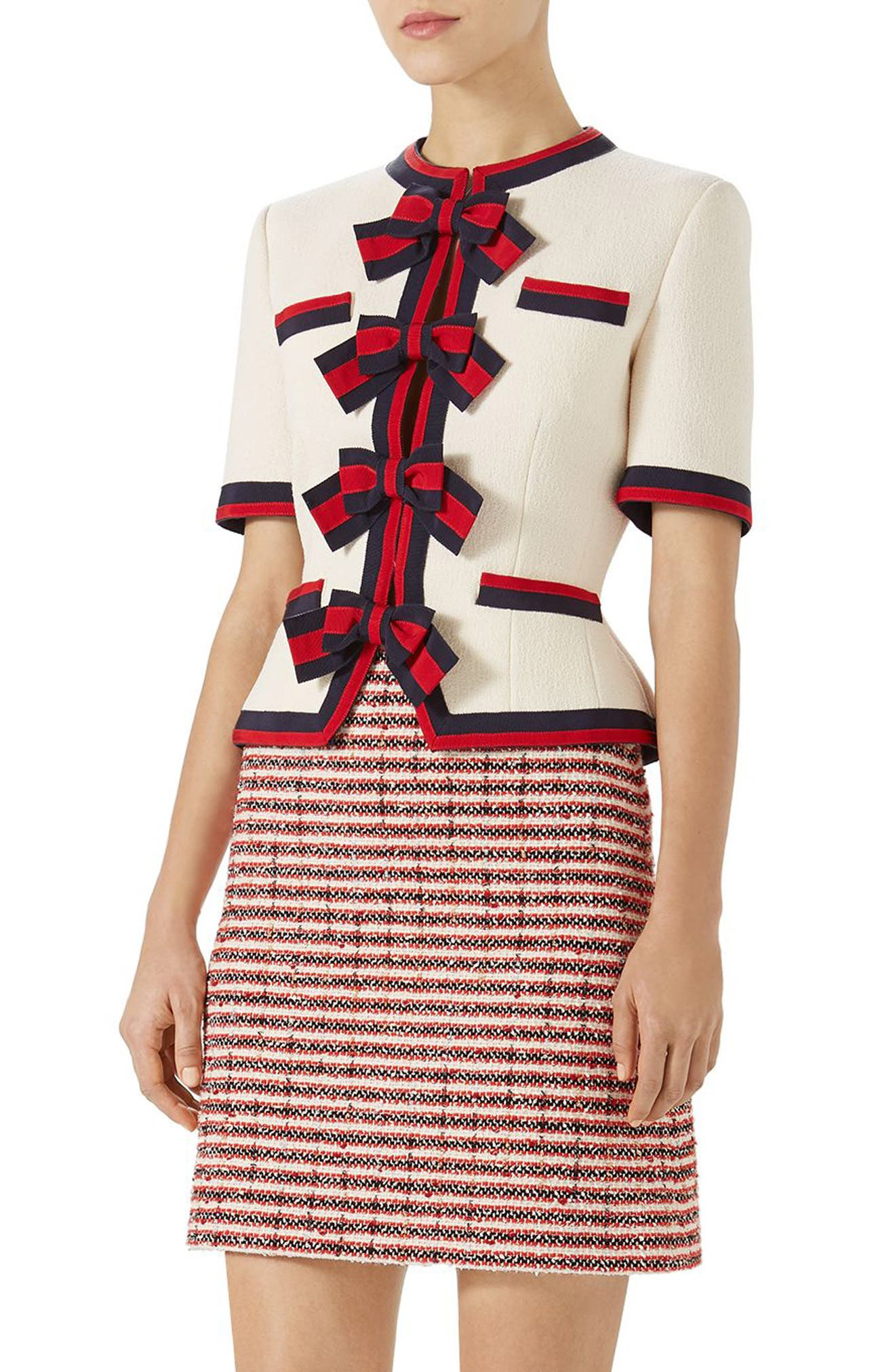Gucci Stripe Bow Wool Jacket
