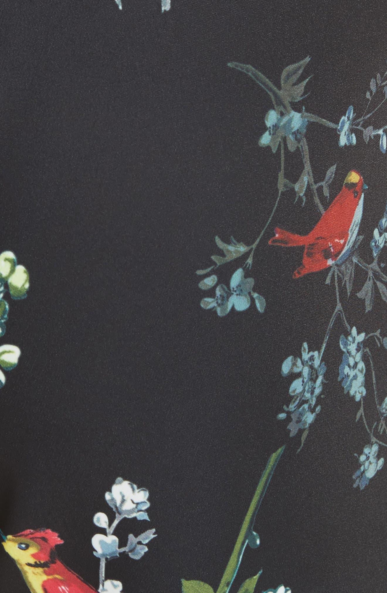 Opulent Fauna Shorts,                             Alternate thumbnail 5, color,                             Black