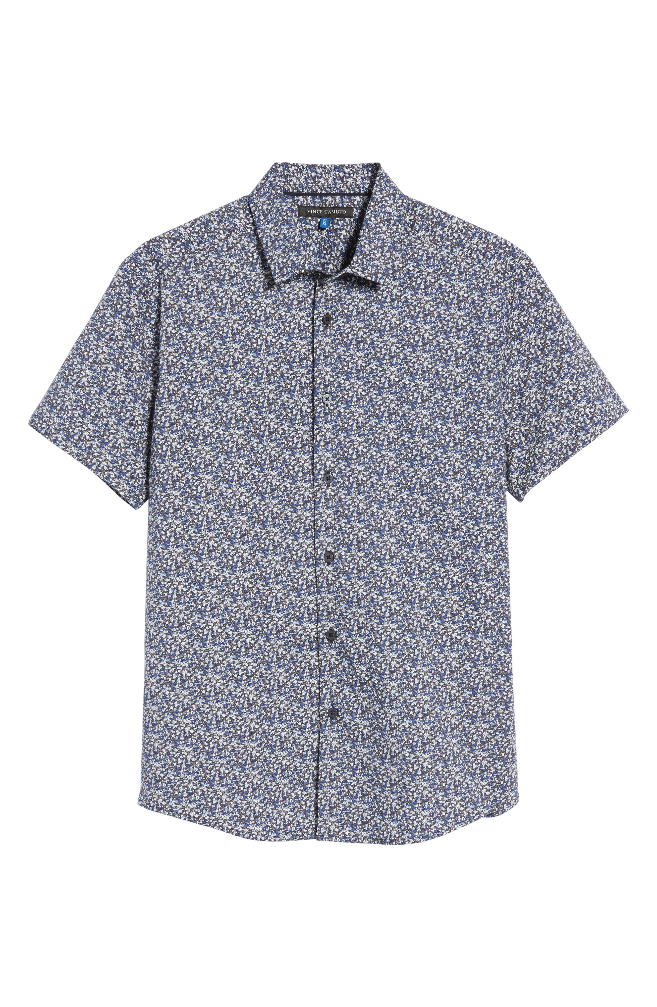 Slim Fit Print Sport Shirt,                             Alternate thumbnail 6, color,                             Blue Abstract Floral