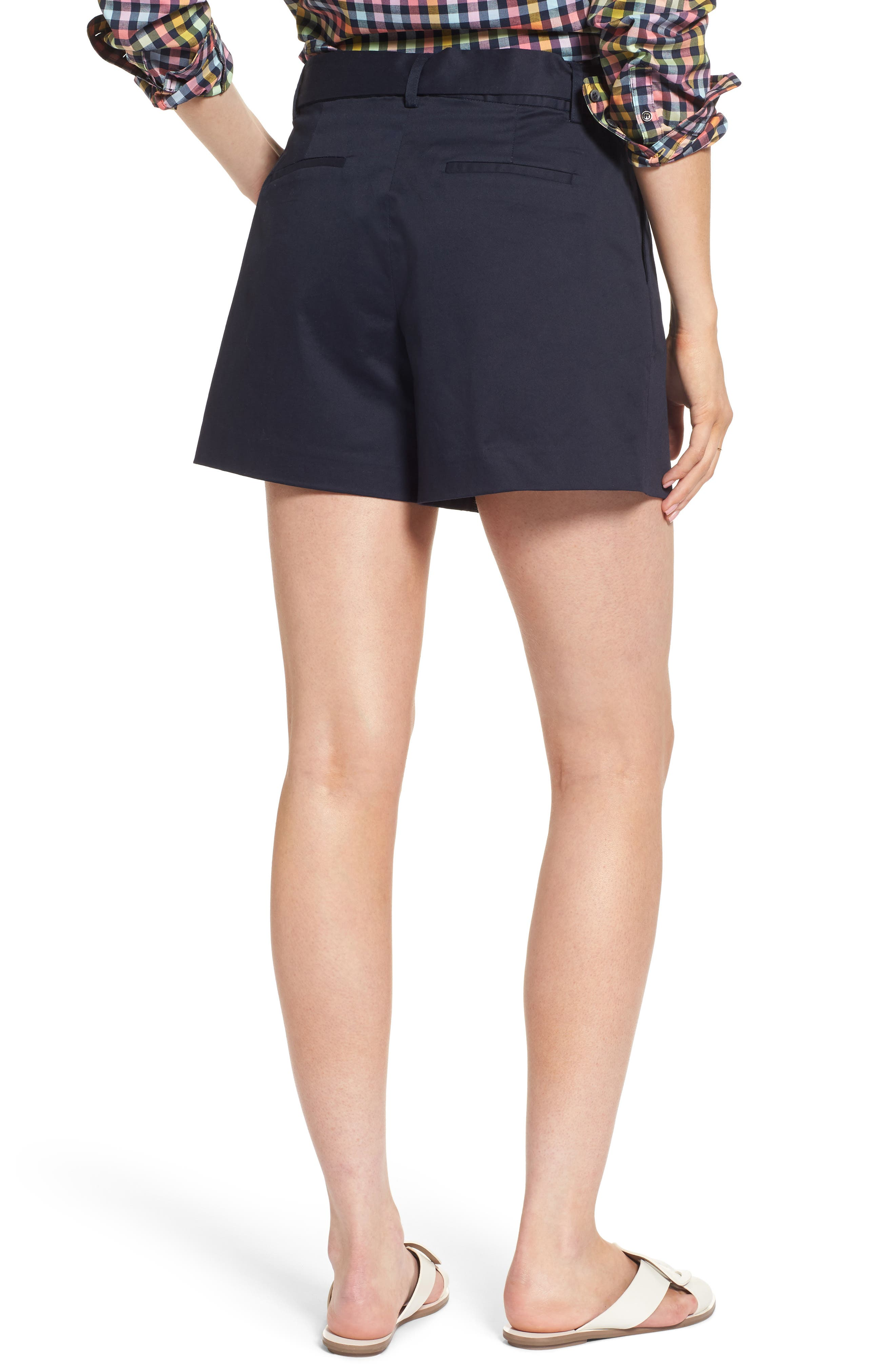 Pleated Twill Bow Front Shorts,                             Alternate thumbnail 2, color,                             Navy Night